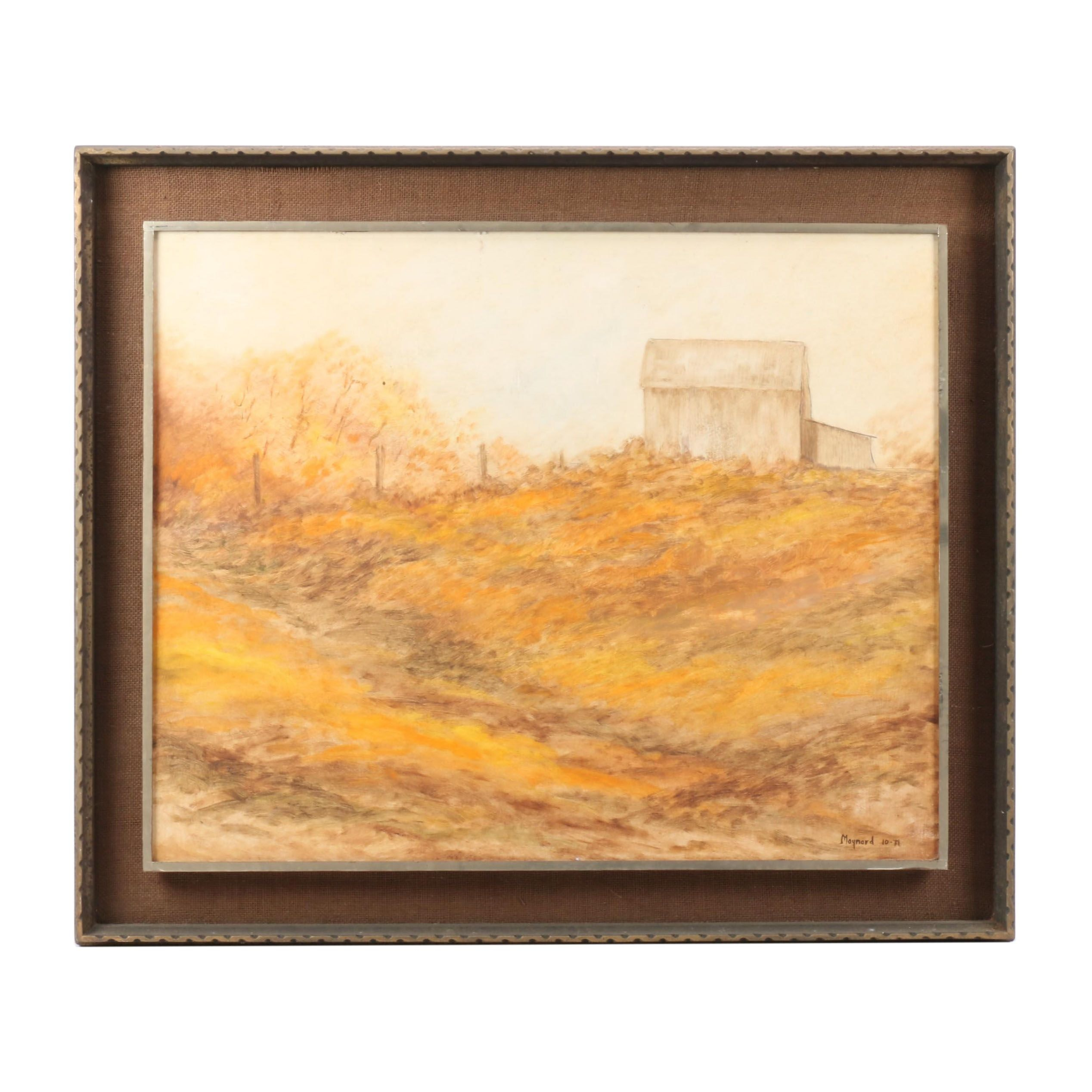 Moynard Oil Painting of House in a Landscape