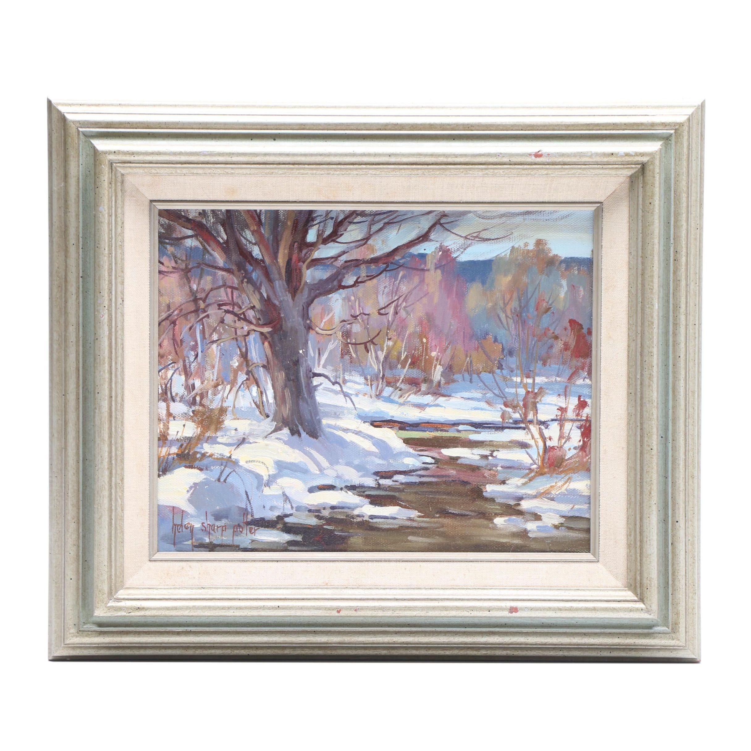 "Helen Sharp Potter Oil Landscape Painting ""Winter Brook"""