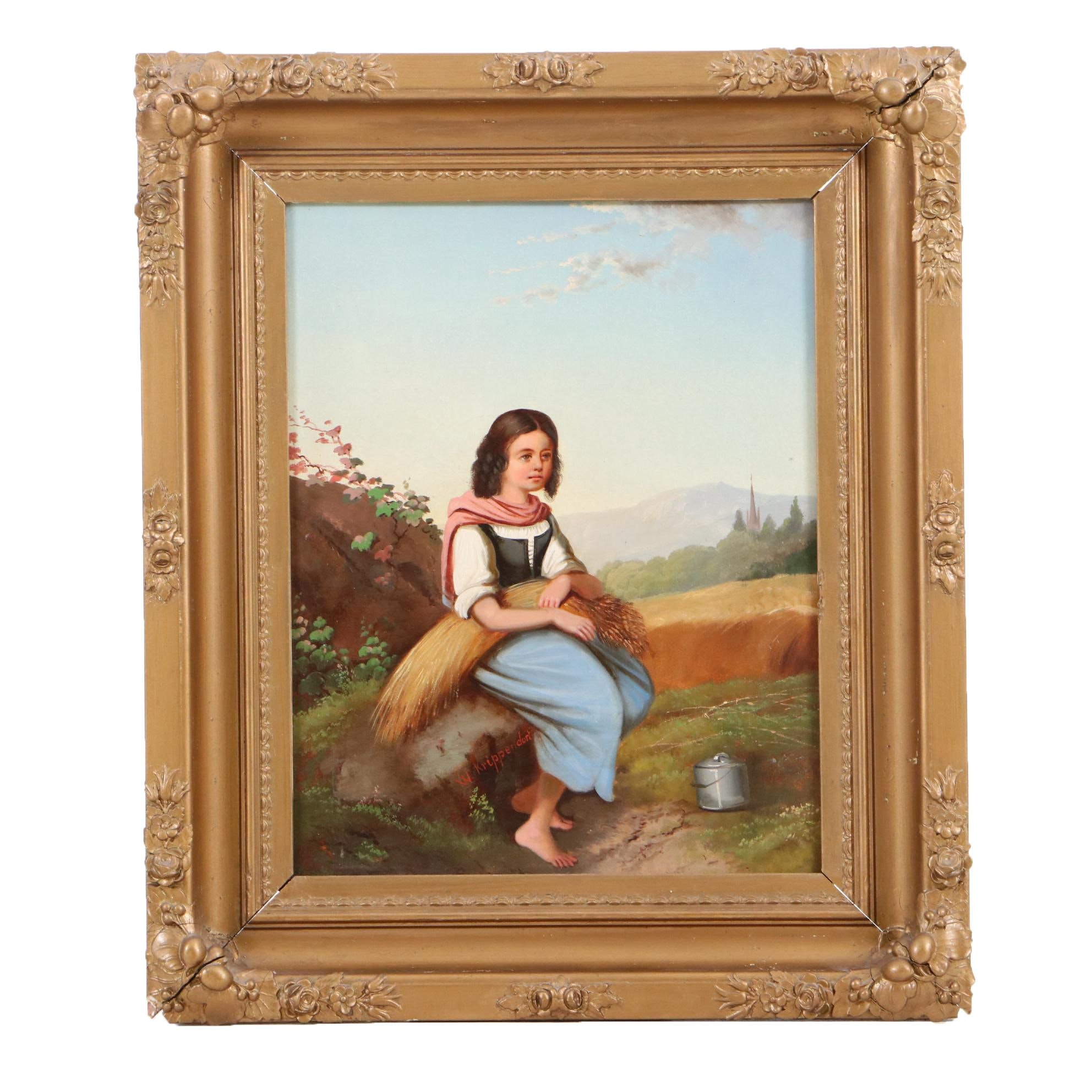 William H. Krippendorf Antique Portrait Oil Painting