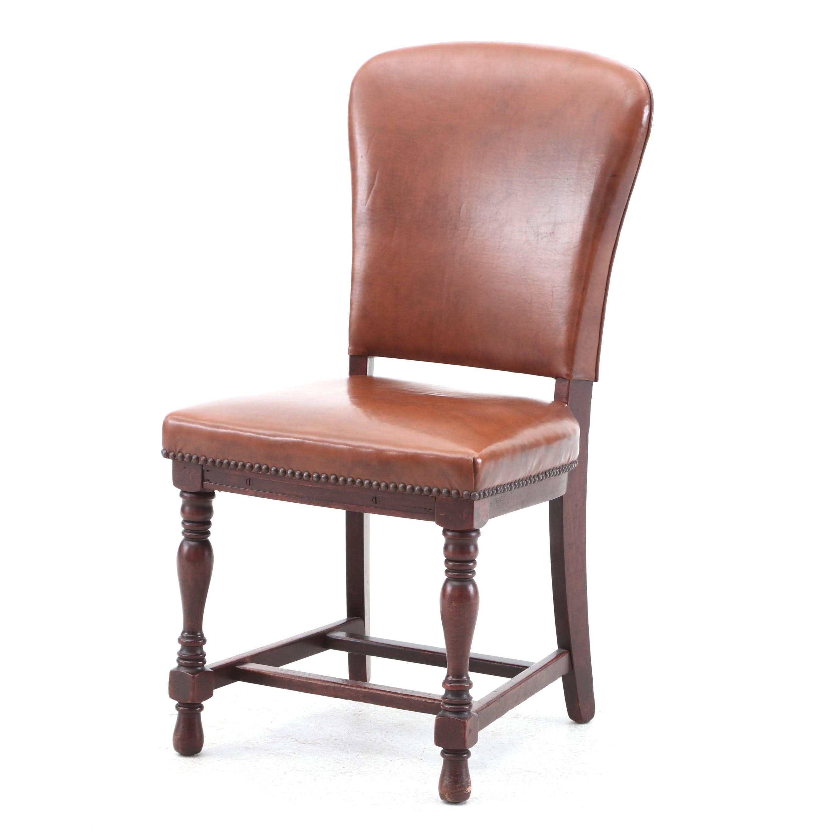 Circa 1920s-1930s Leather Upholstered Chair in Walnut