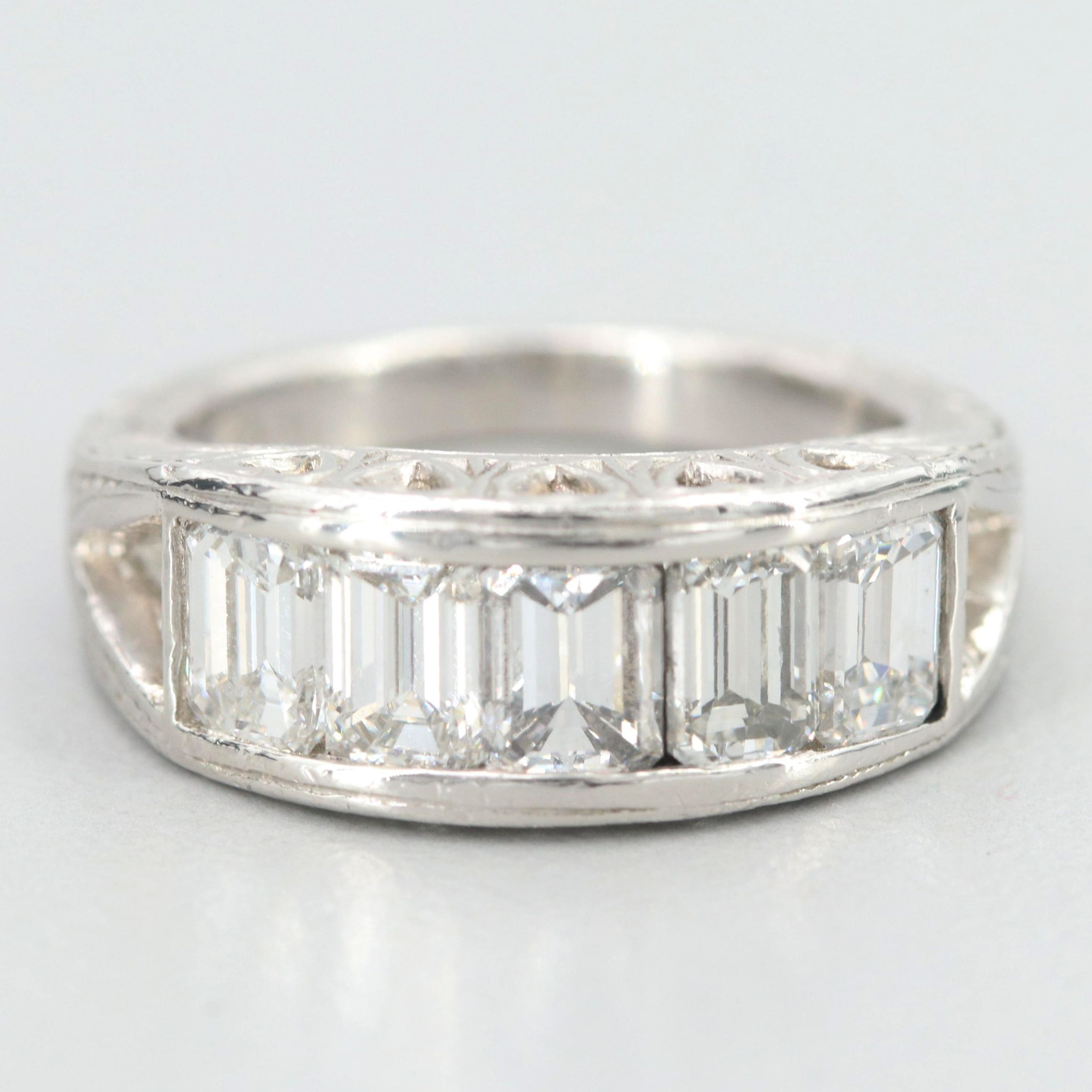 Platinum 2.45 CTW Diamond Engraved Ring
