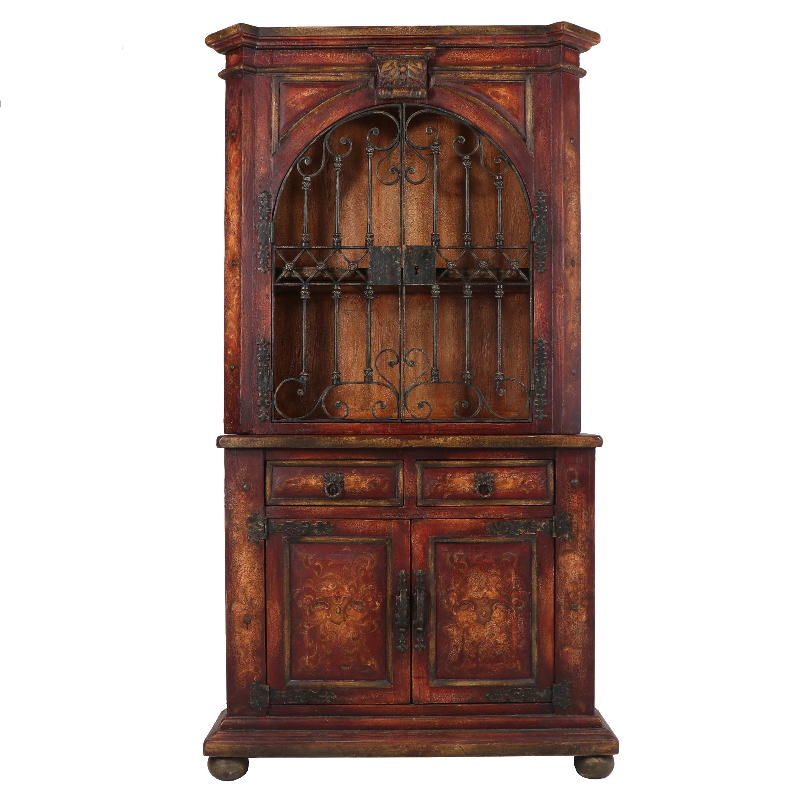 Spanish Revival Style Painted Wood and Iron China Cabinet, 21st Century