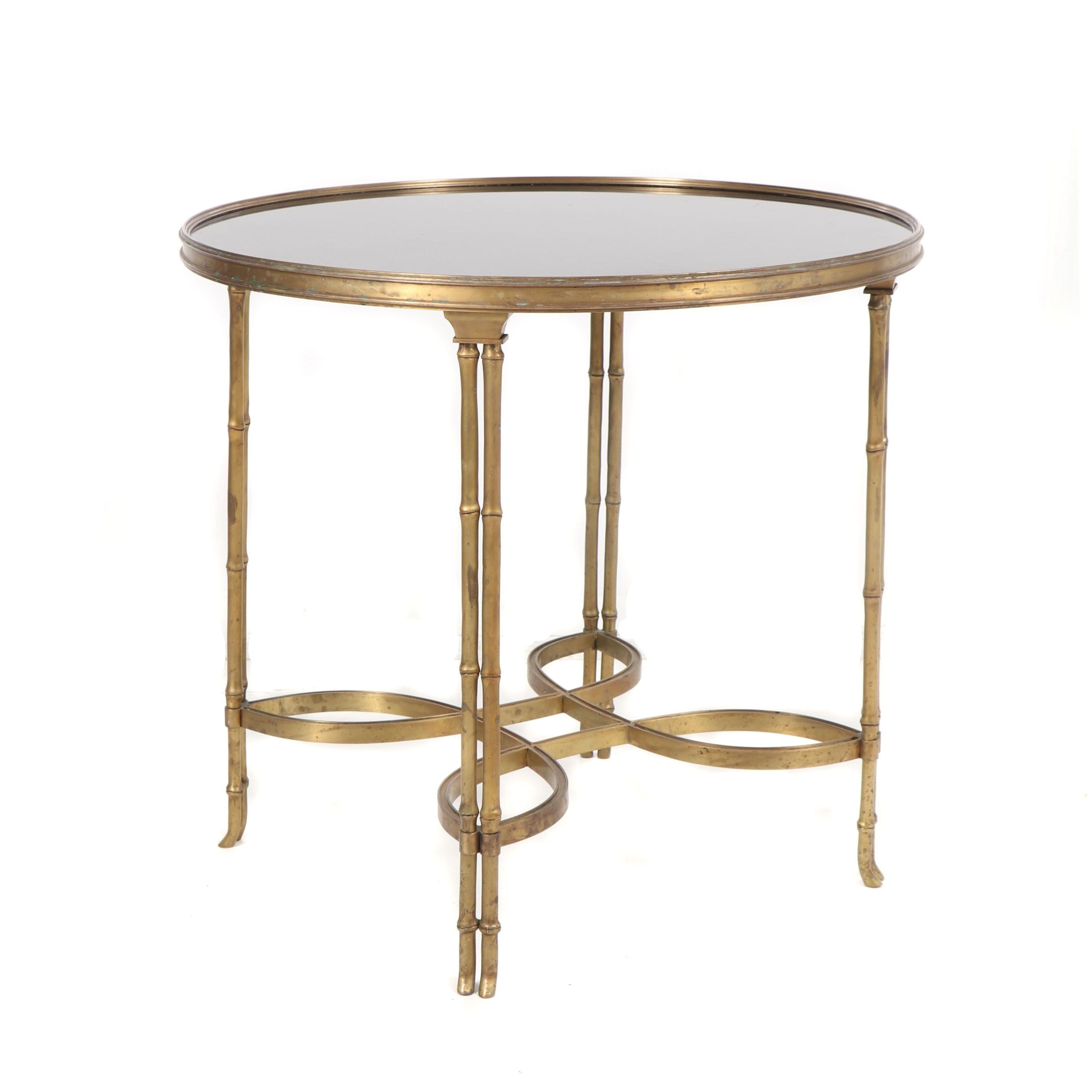 Hollywood Regency Style Brass & Black Granite Double Bamboo Leg Table, 21st C.