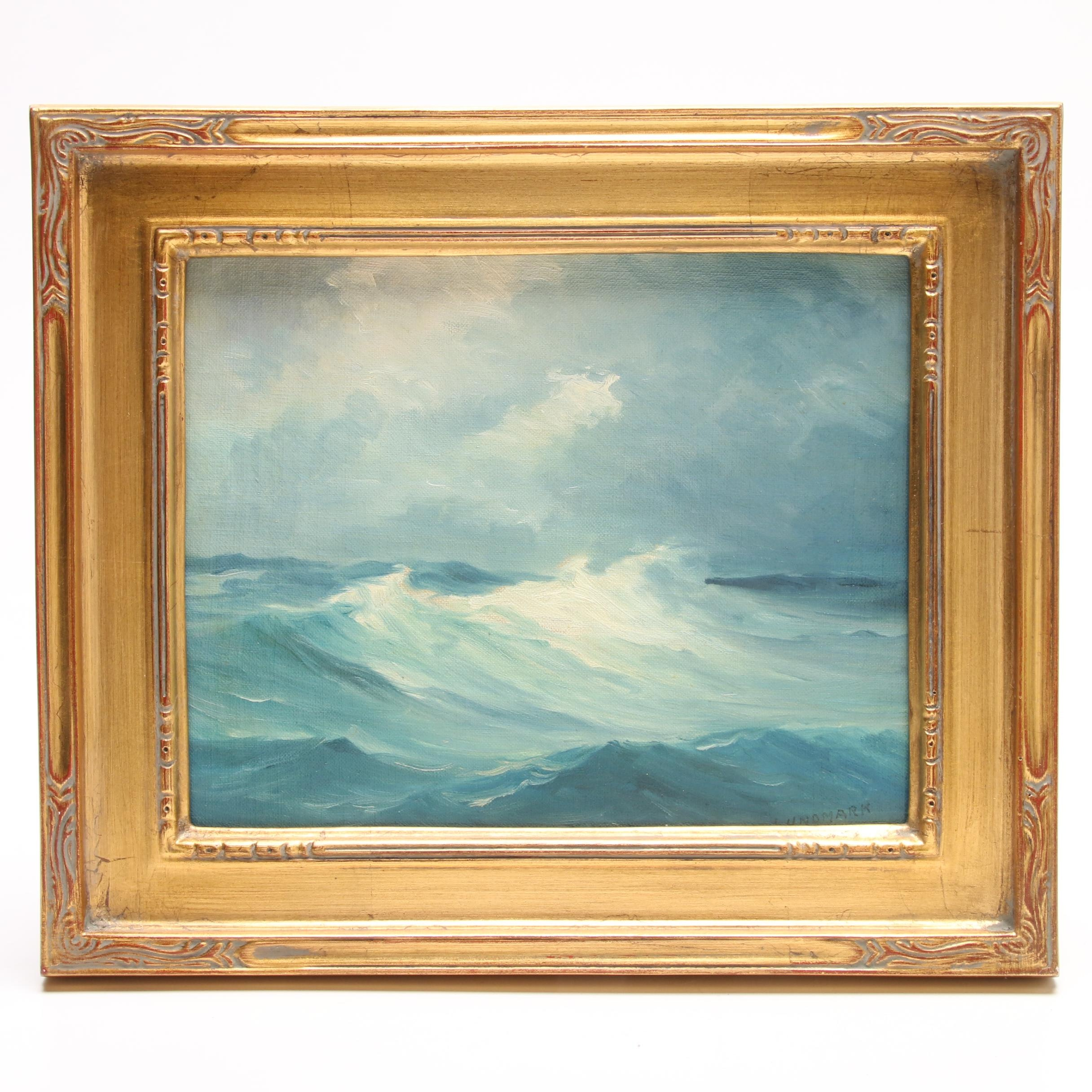 """Leon Lundmark Oil Seascape Painting """"Out at Sea"""""""