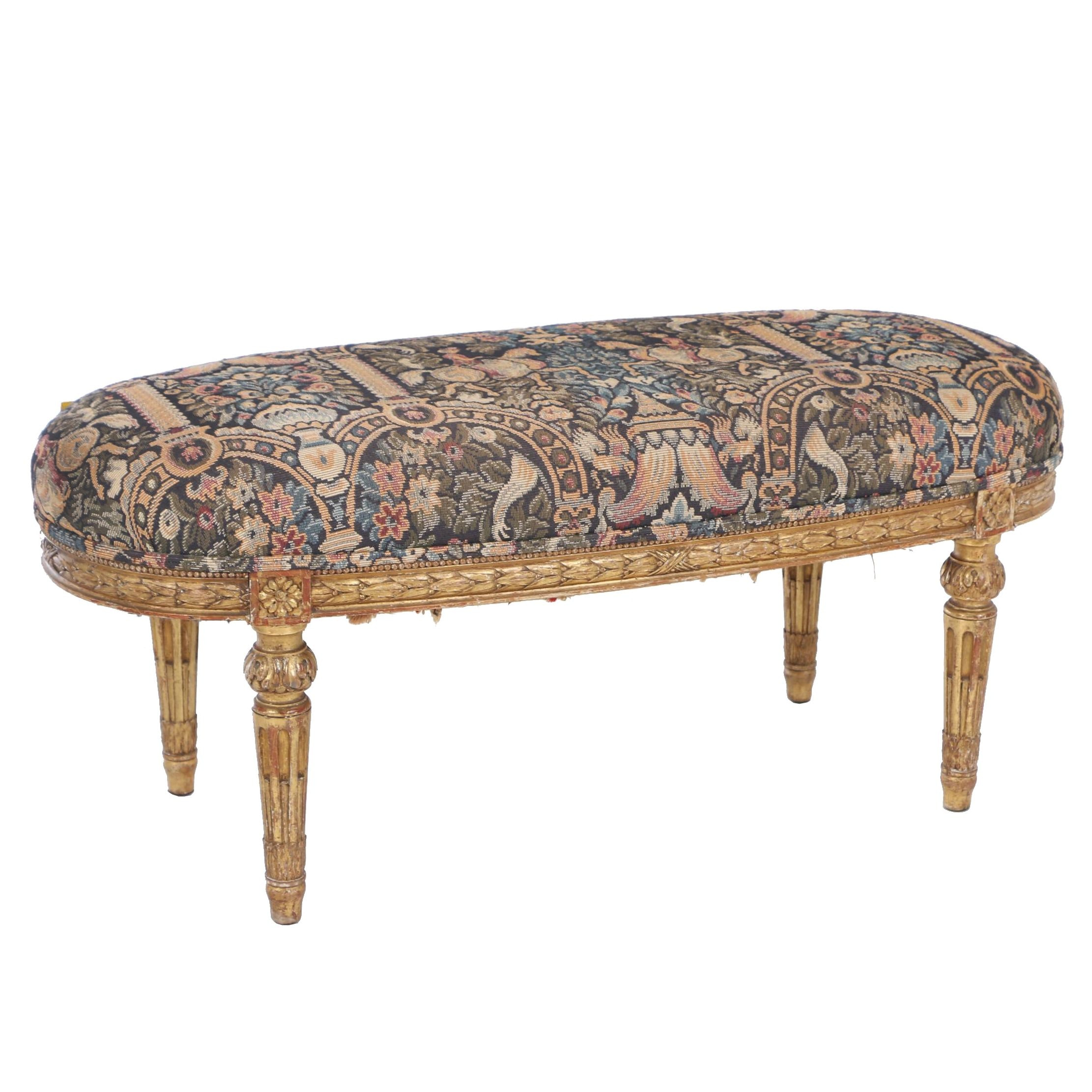 Louis XVI Style Giltwood Bench, Late 19th/Early 20th Century