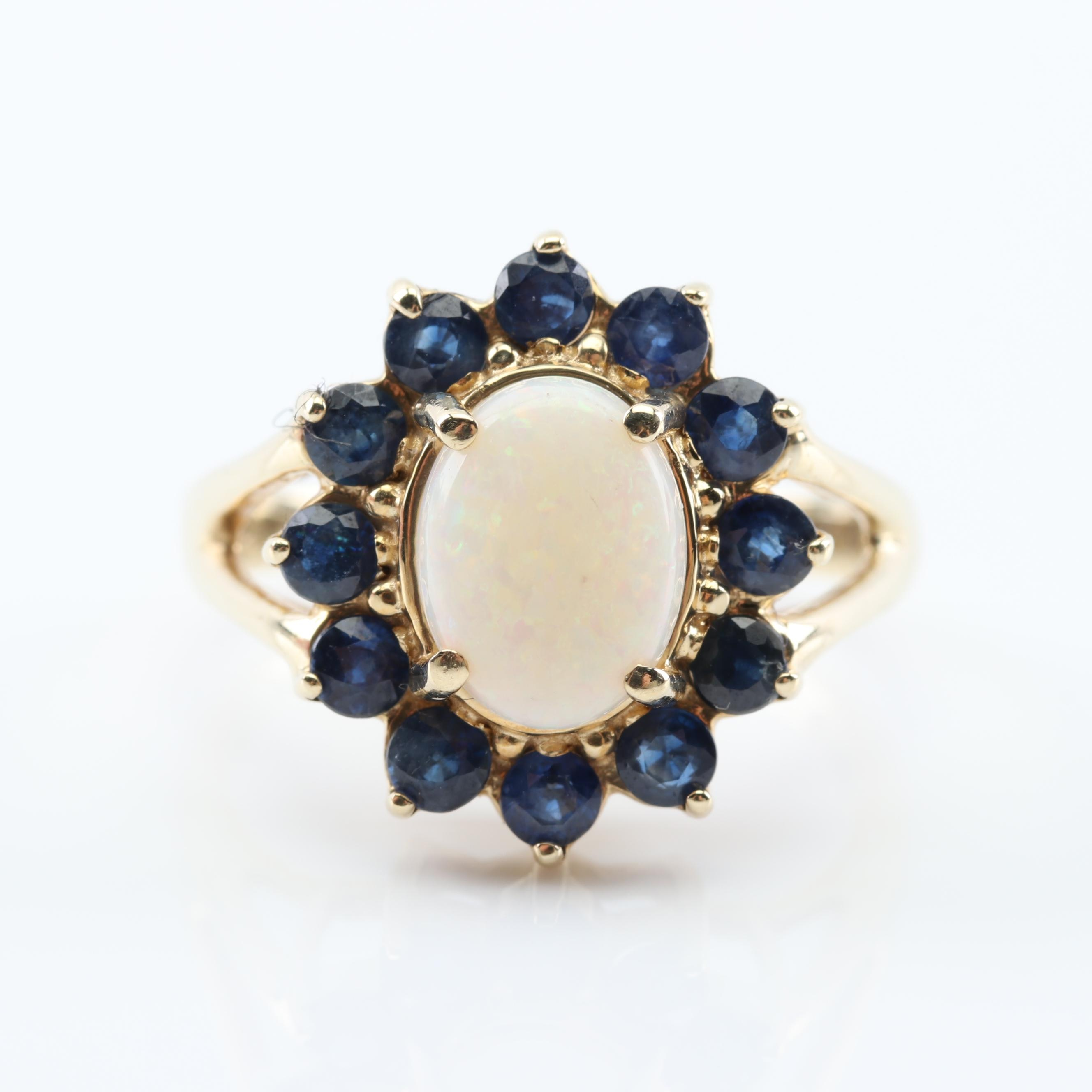 10K Yellow Gold Opal and Sapphire Halo Ring