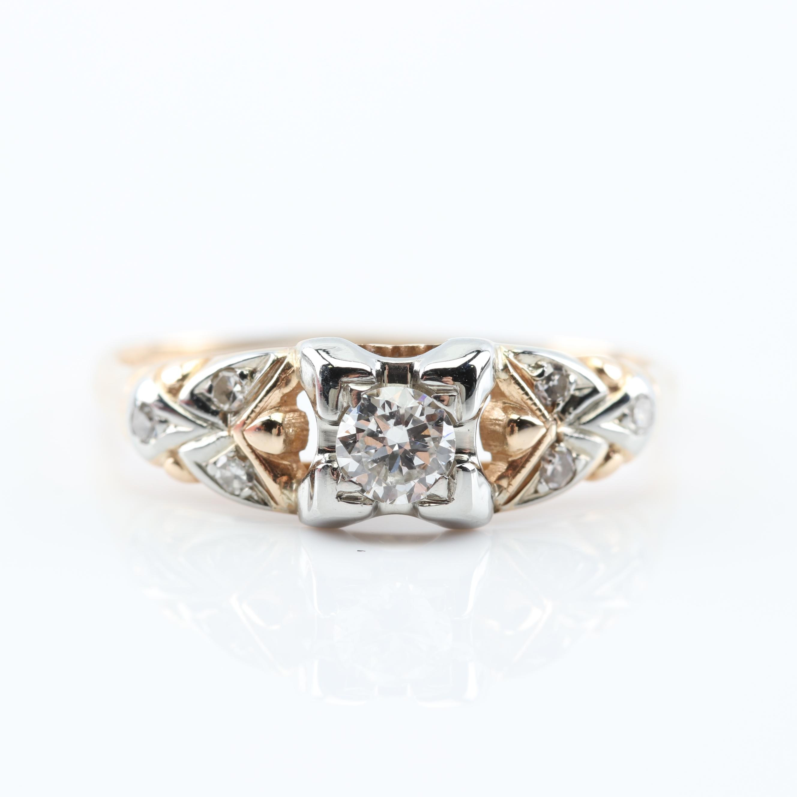 14K and 18K Yellow Gold Diamond Ring