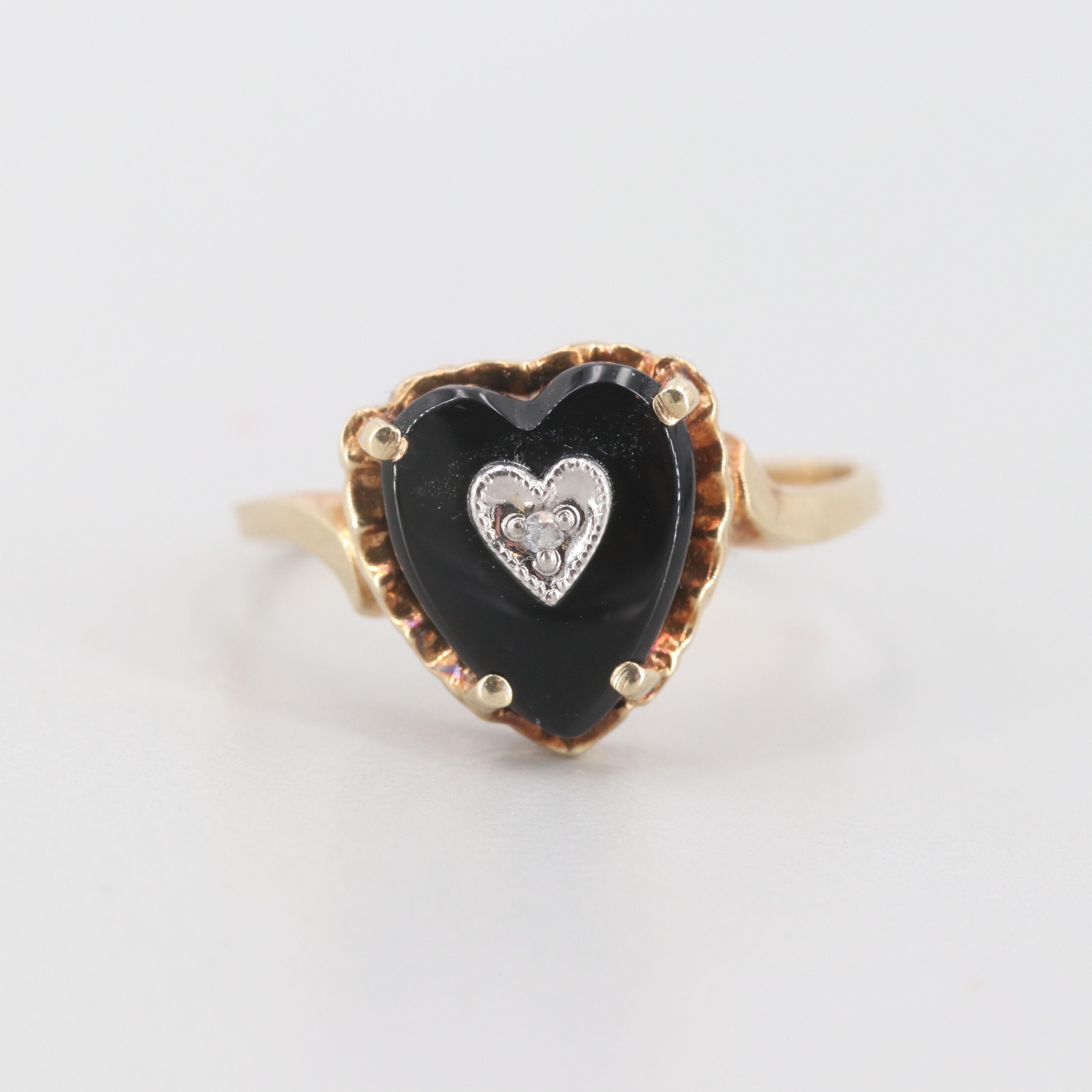 10K Yellow Gold Diamond and Black Onyx Heart Ring