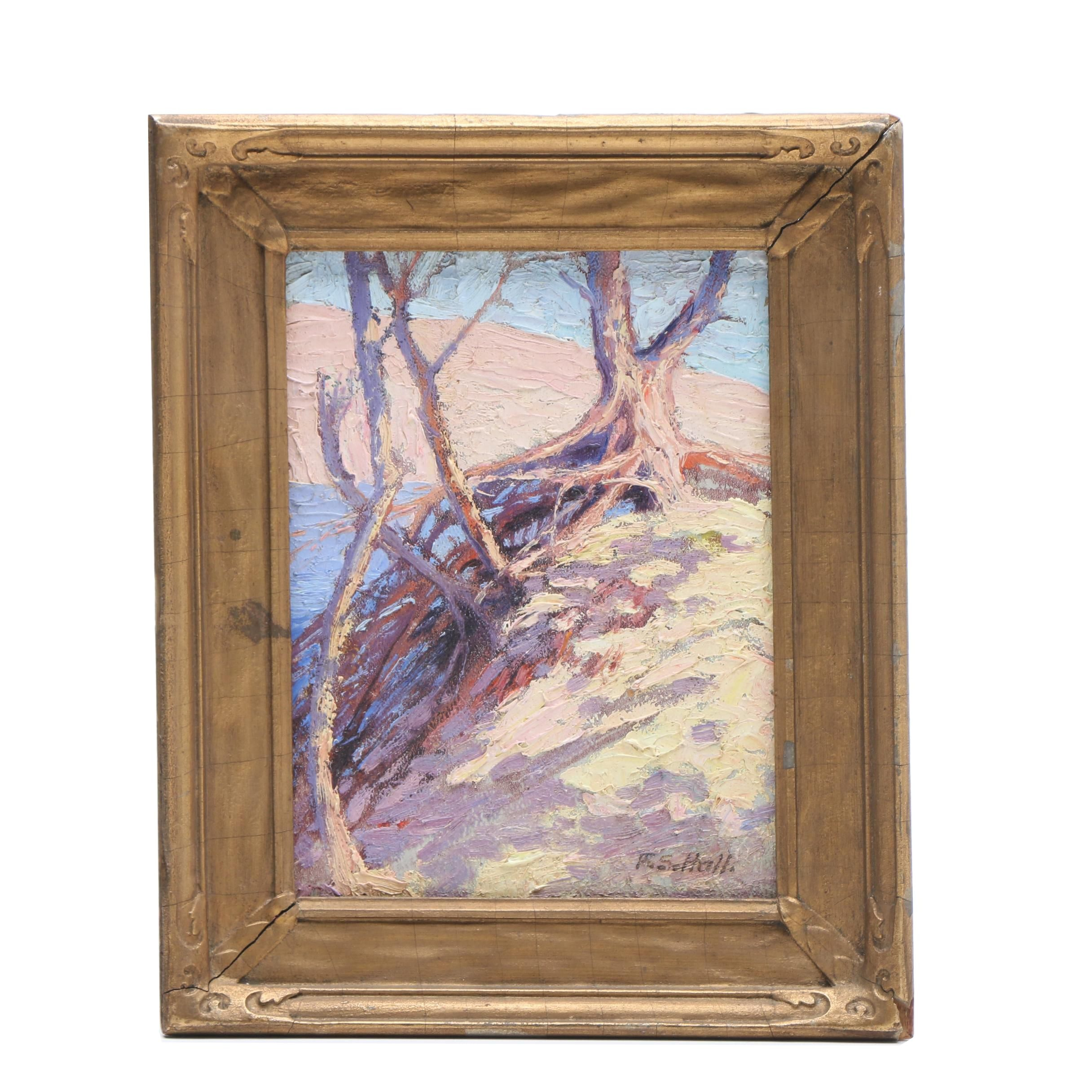 R. S. Hall Post-Impressionist Oil Landscape Painting