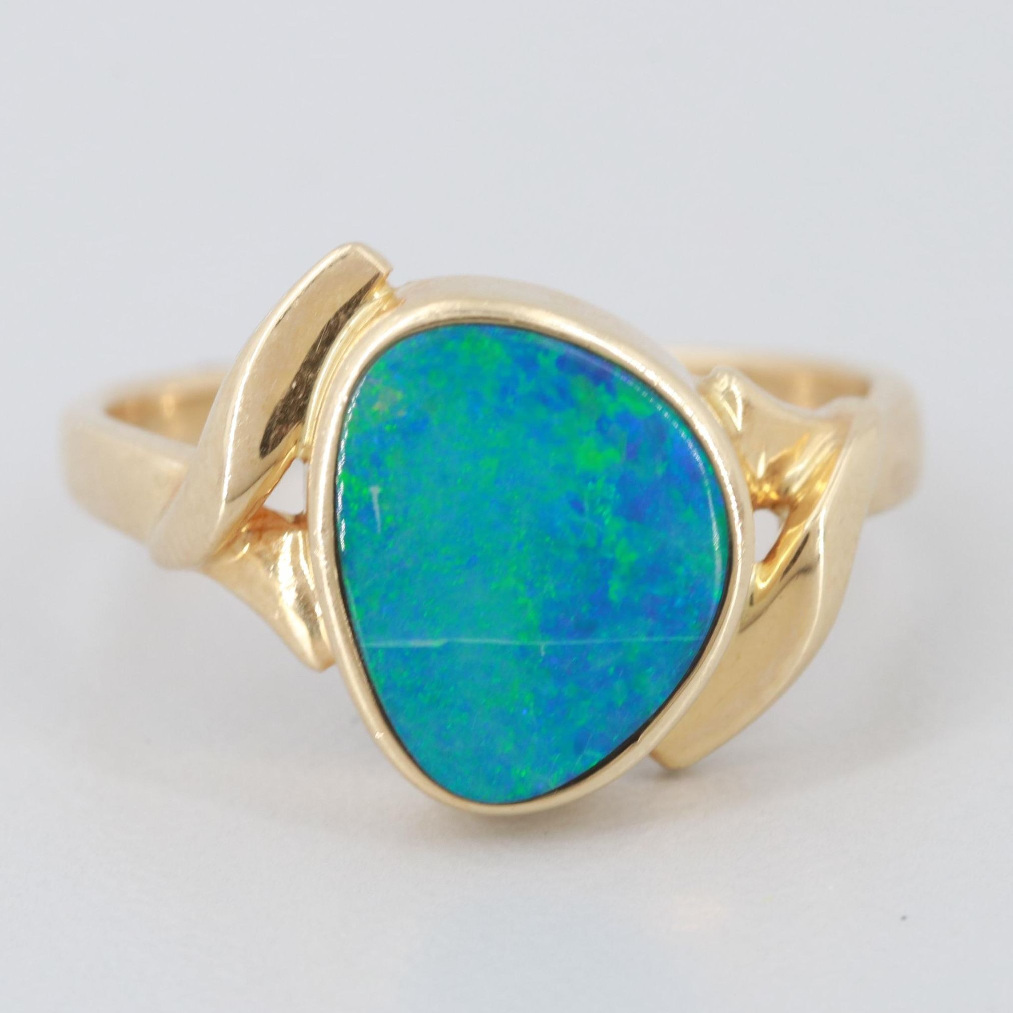 14K Yellow Gold Opal Doublet Freeform Ring