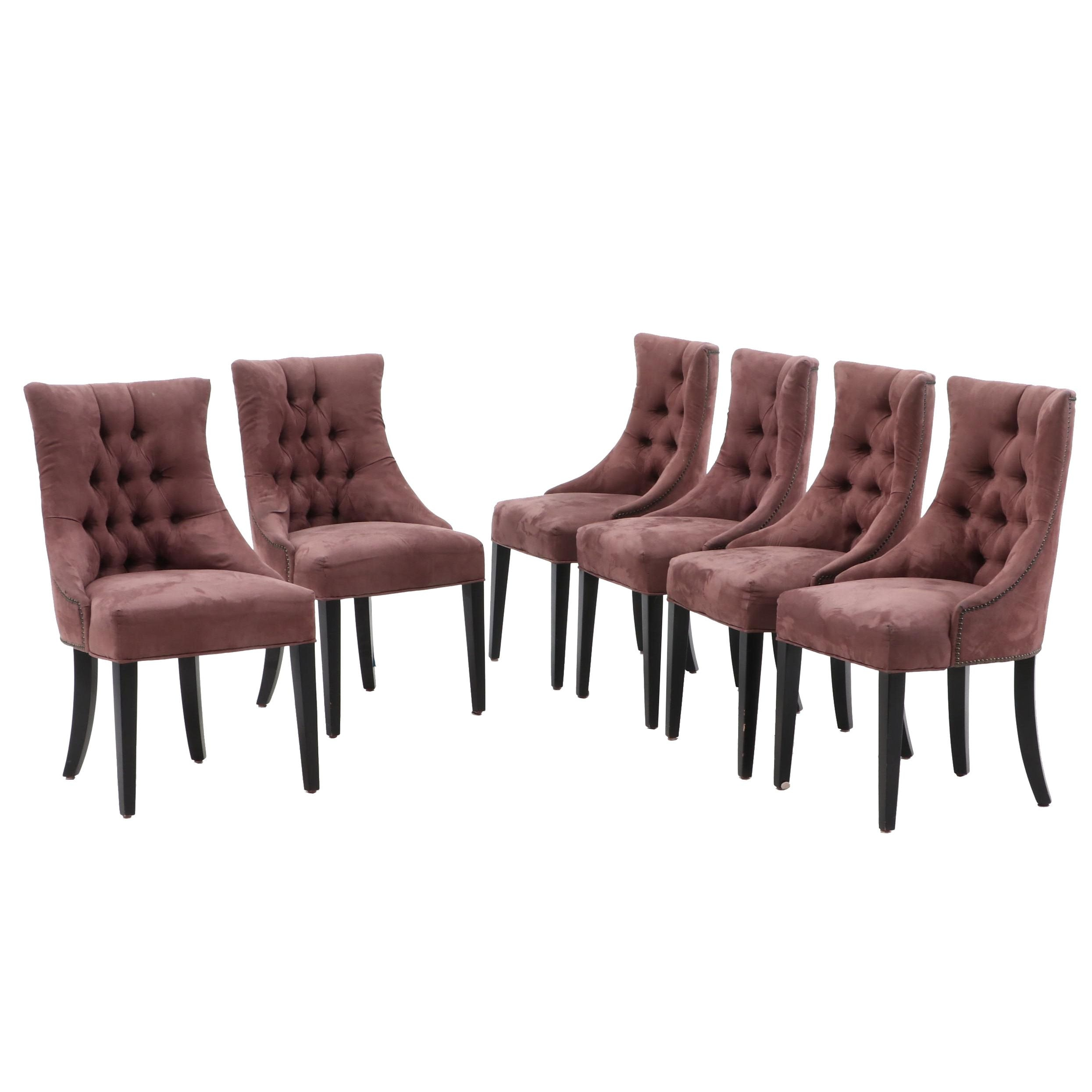 Six Upholstered Concave Tufted Back Side Chairs