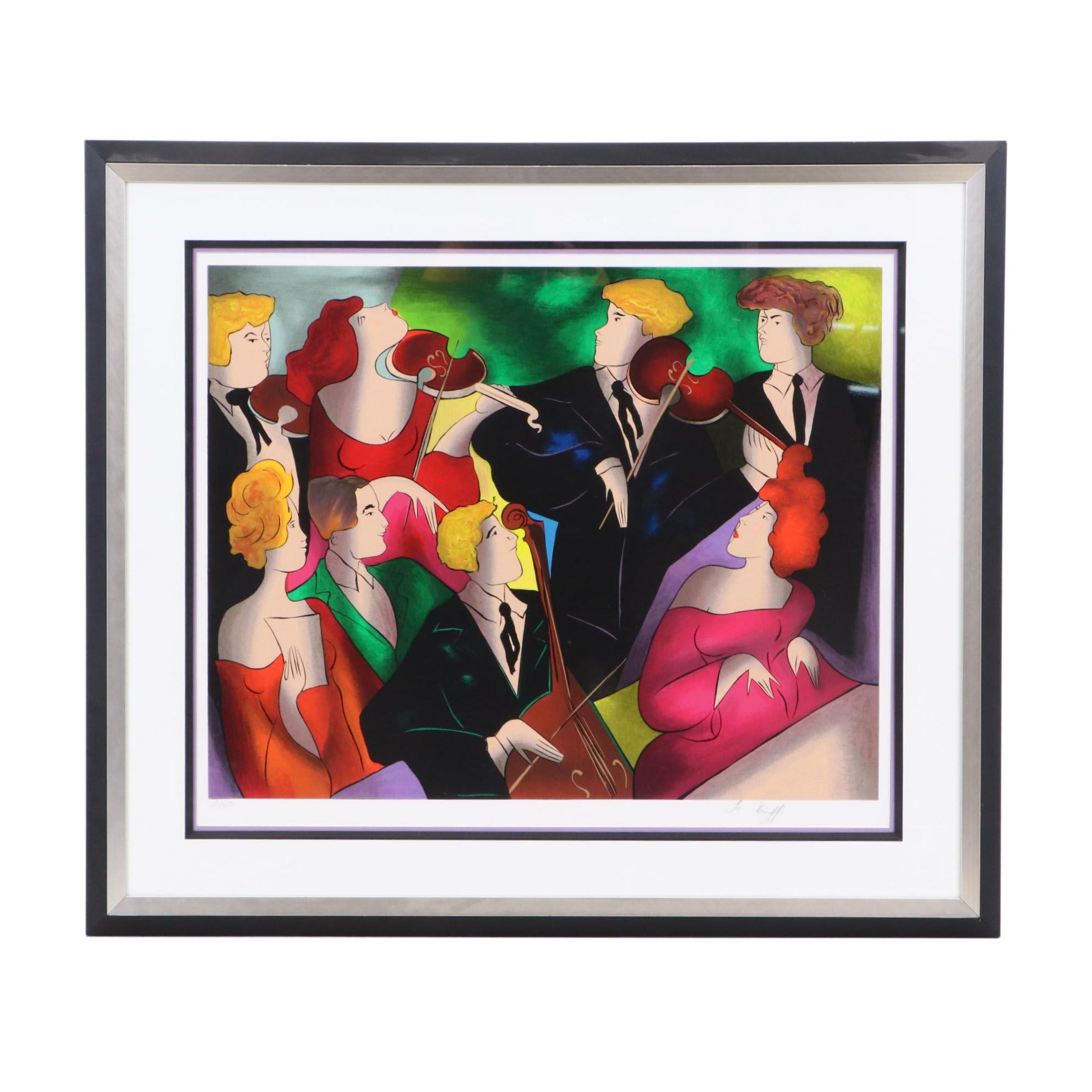 """Linda Le Kinff Limited Edition Serigraph """"Concert a Vienna"""""""