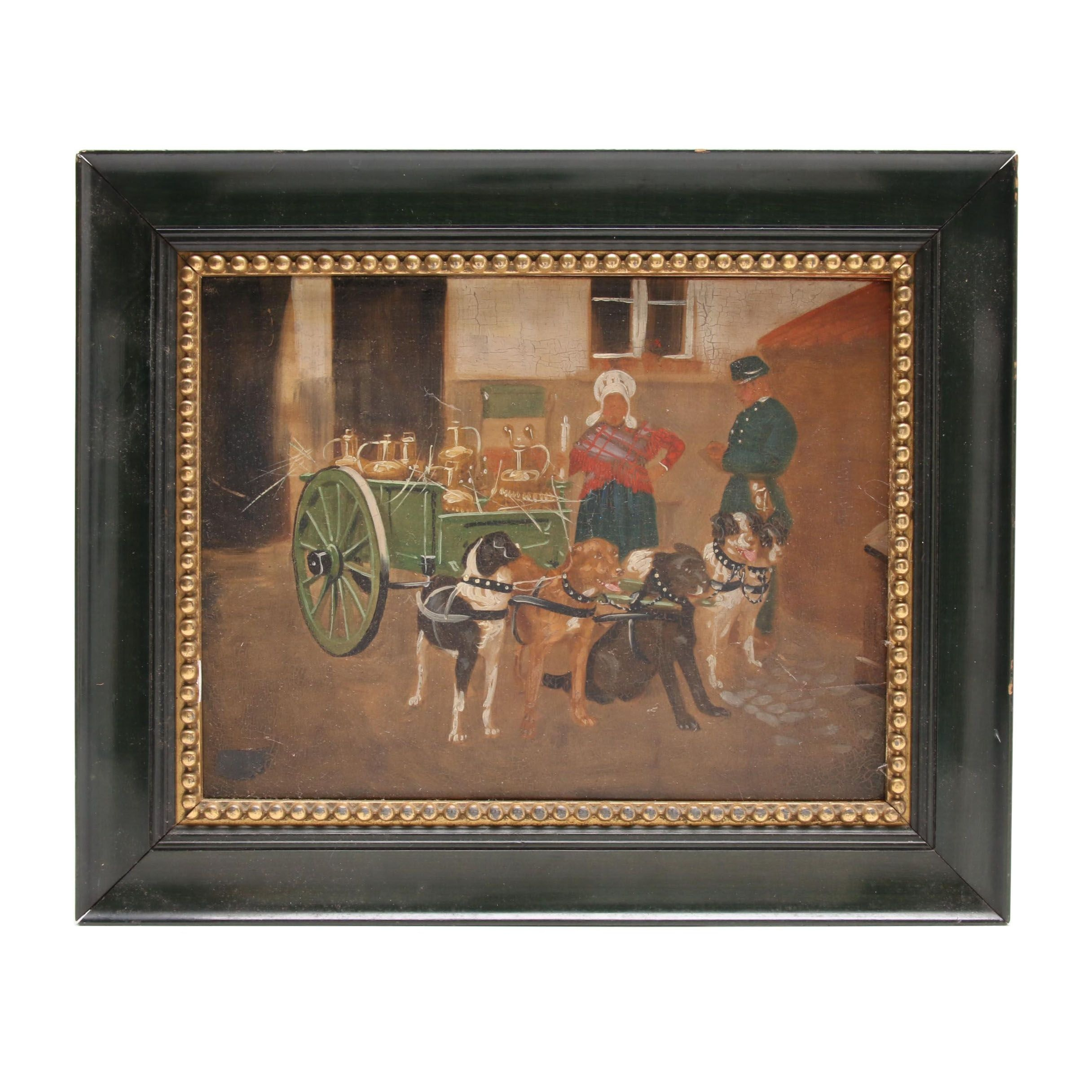 Oil Painting Genre Scene with Dogs