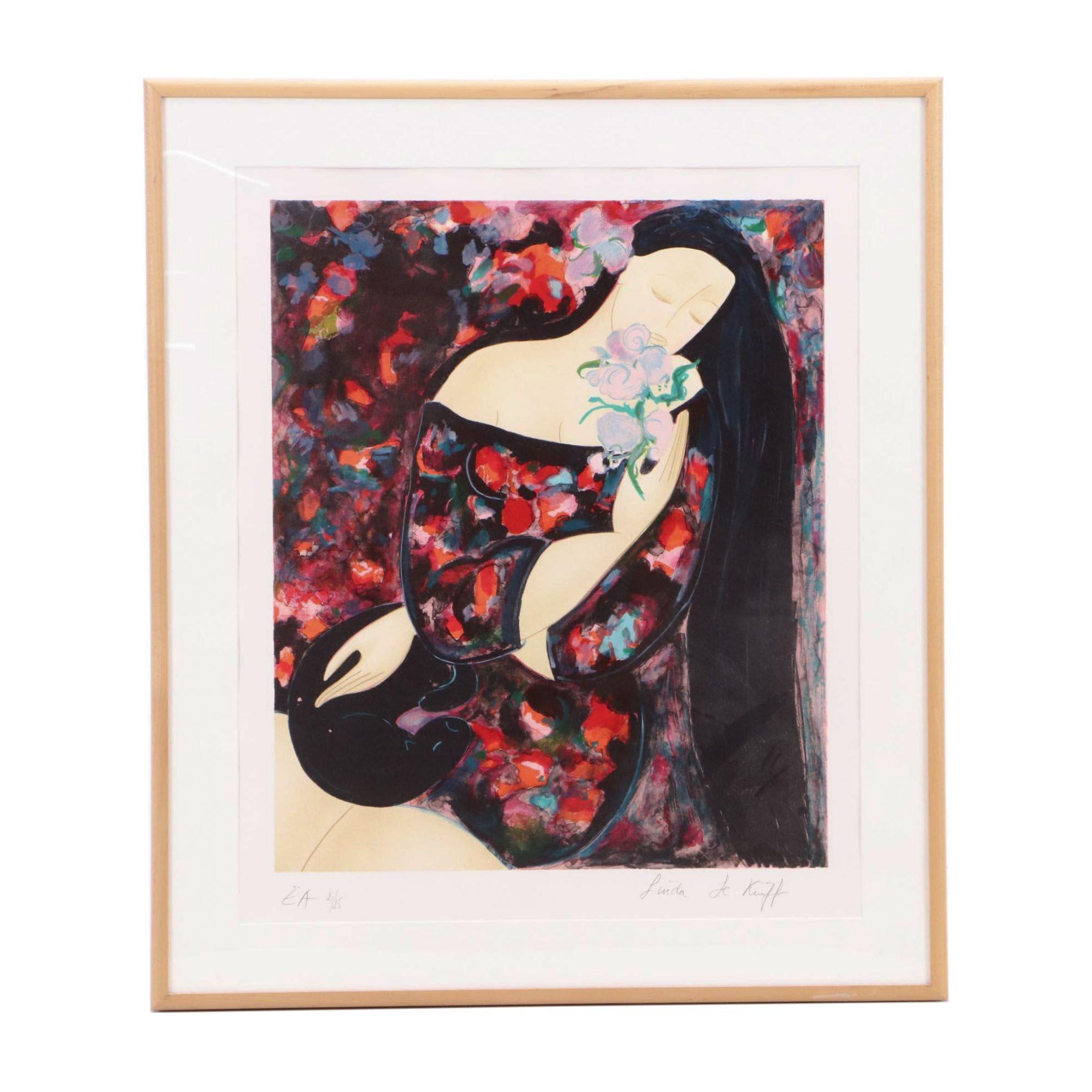 """Linda Le Kinff Artist's Proof Lithograph """"Femme à l'orchidée bleue"""""""
