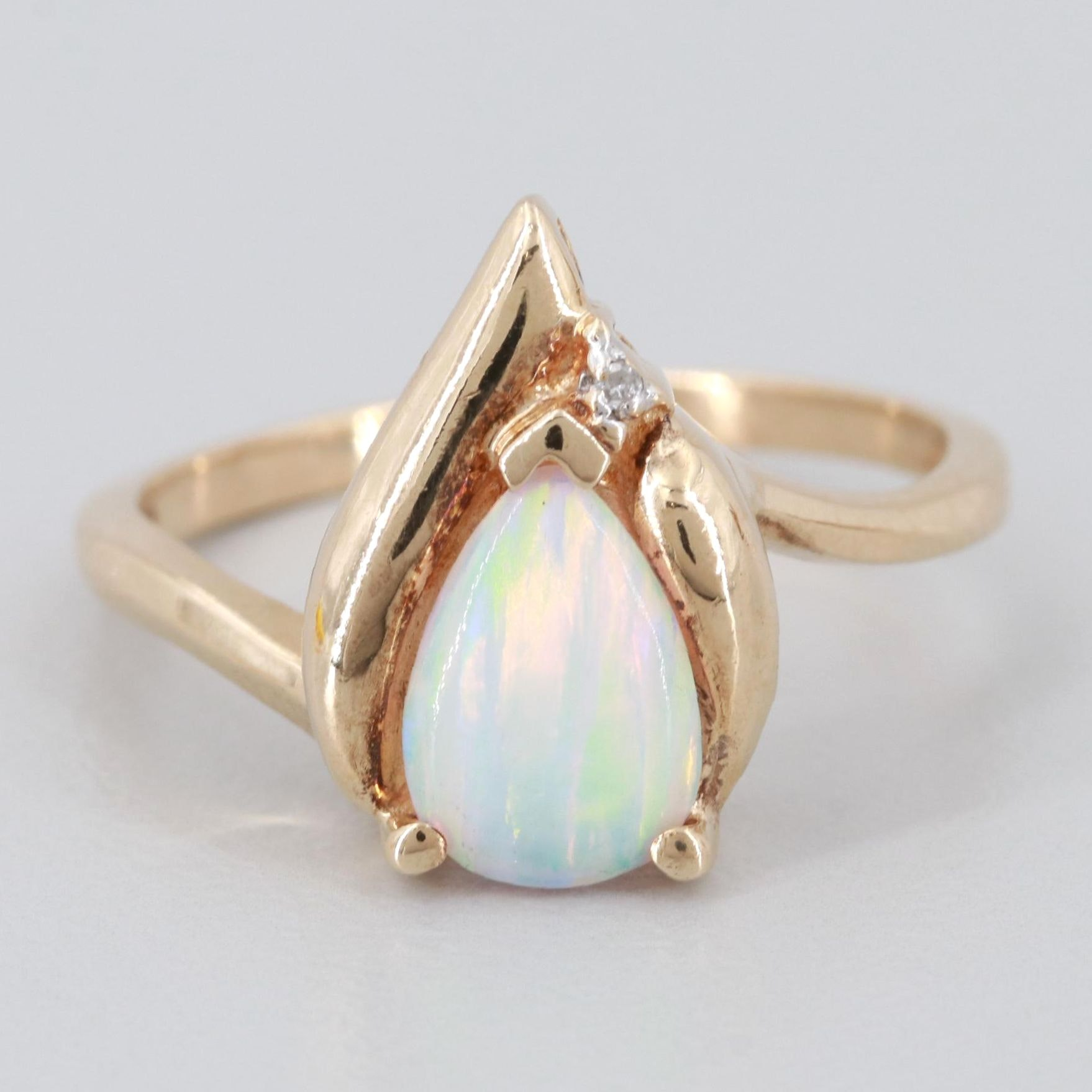 Marsala 10K Yellow Gold Synthetic Opal and Diamond Ring