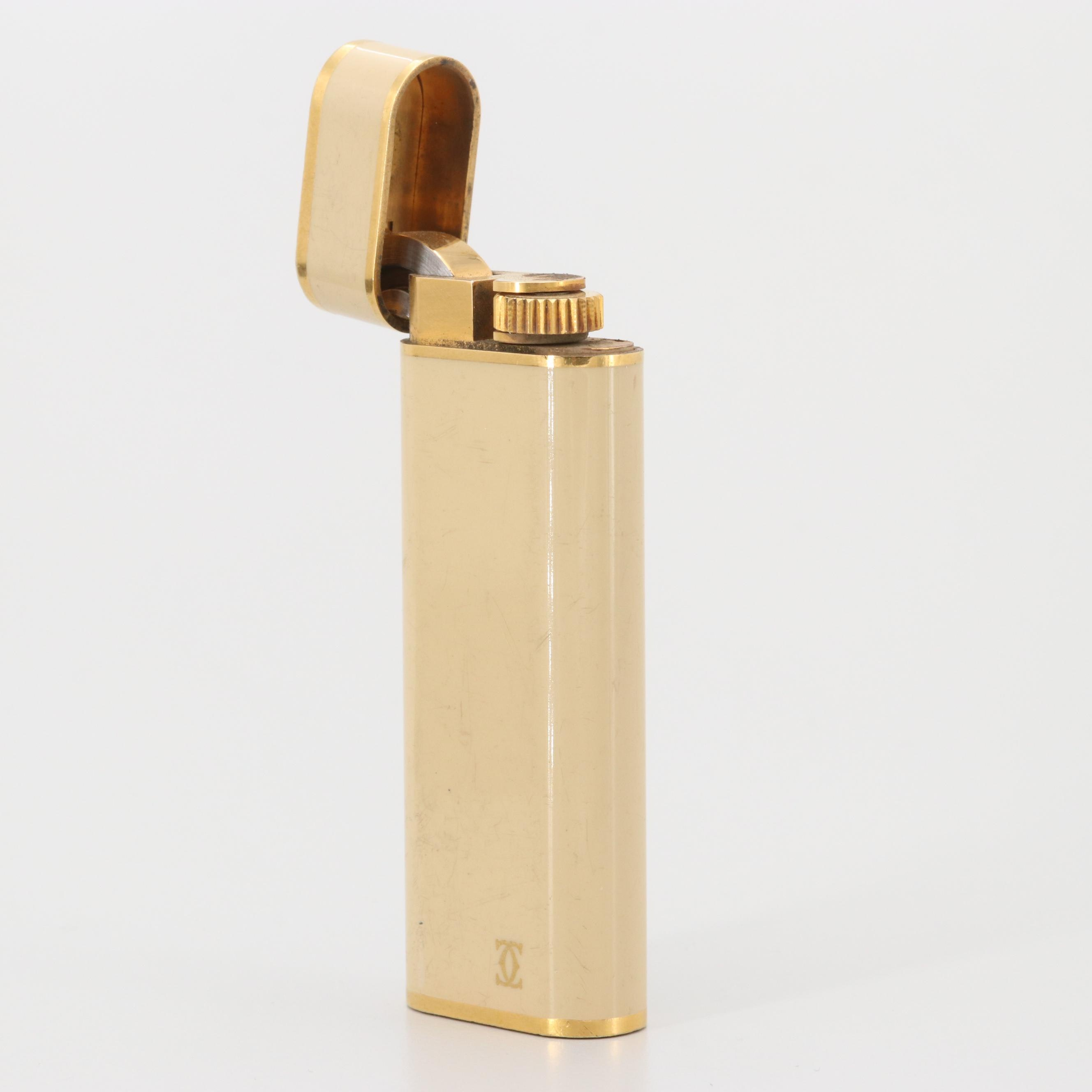 Vintage Cartier Gold Plated Oval Lighter with Lacquer Finish