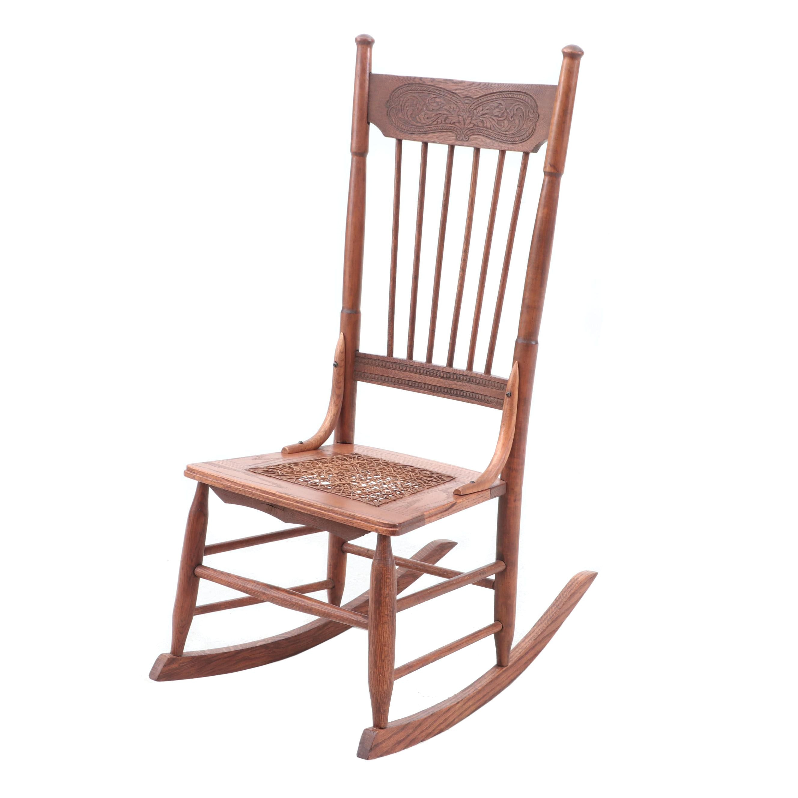 Oak Rocking Chair with Caned Seat