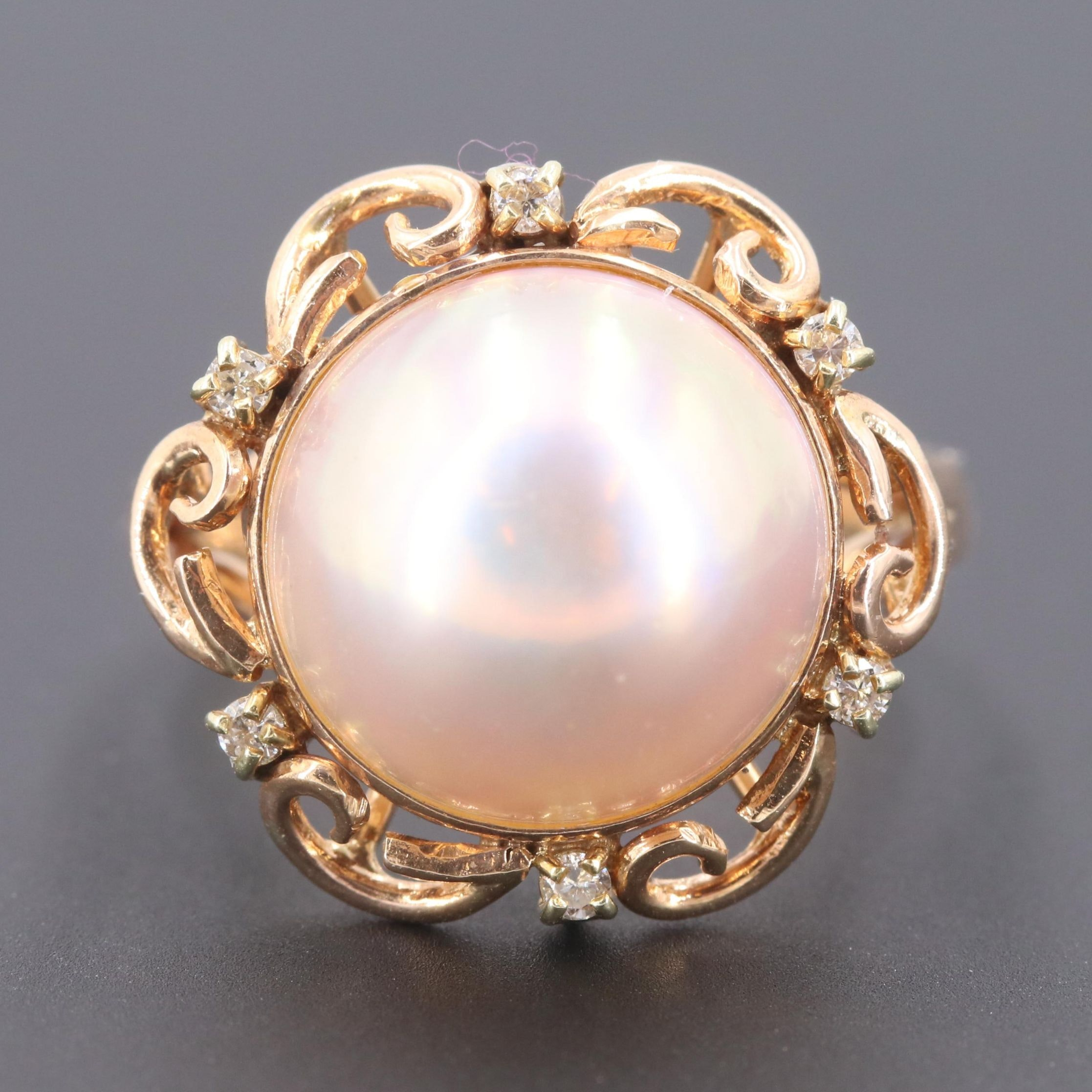 14K Rose Gold Cultured Mabé Pearl and Diamond Ring