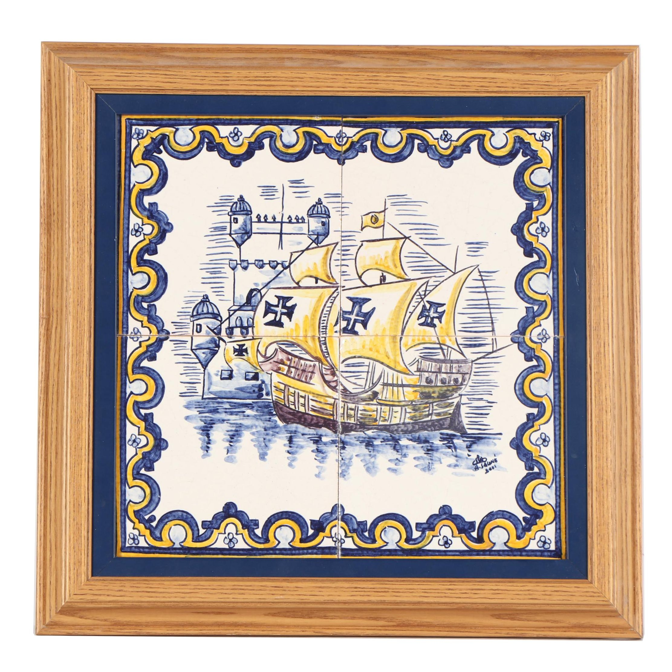 Hand-Painted Ceramic Tile with Nautical Motif