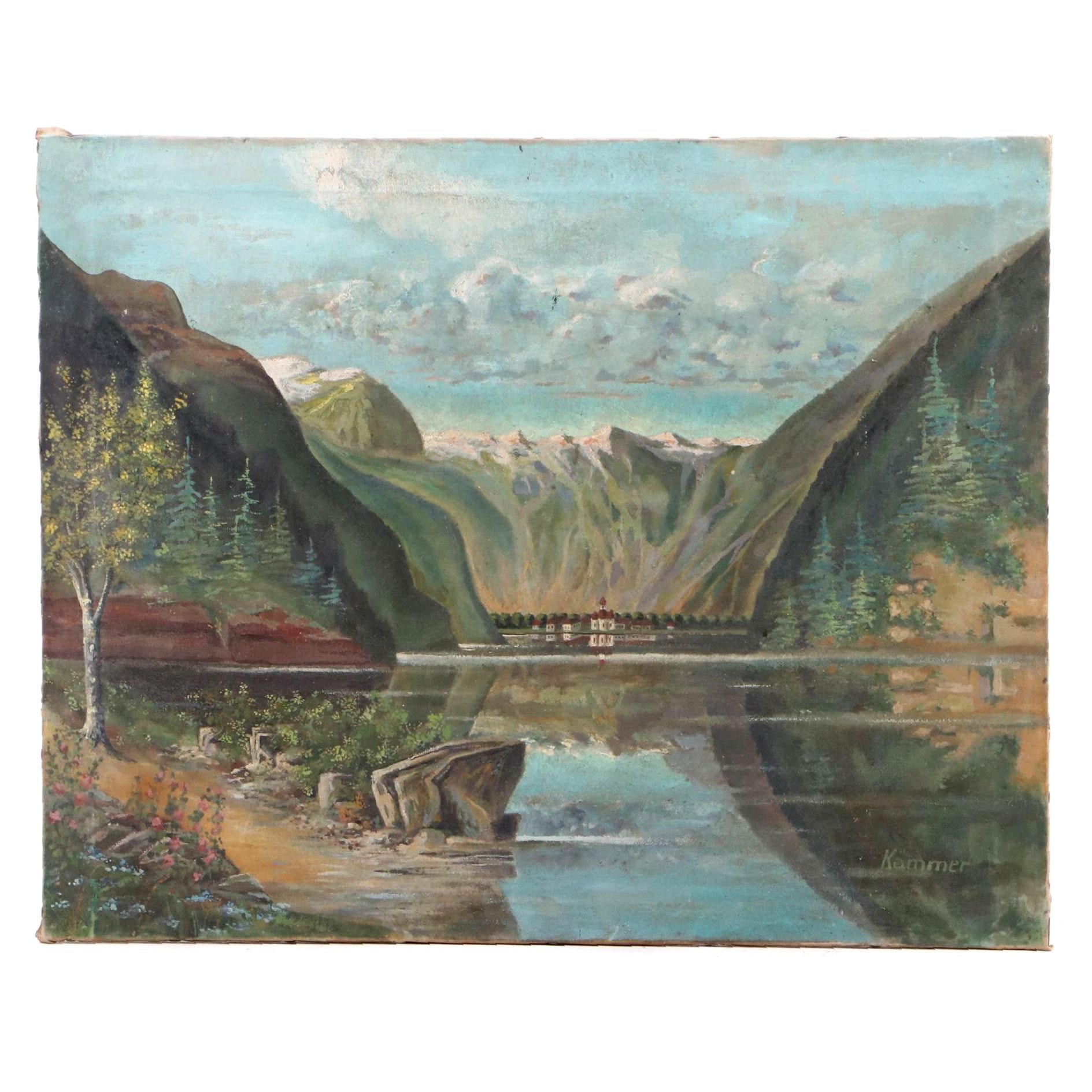 Kämmer Oil Painting of Alpine Lake Scene