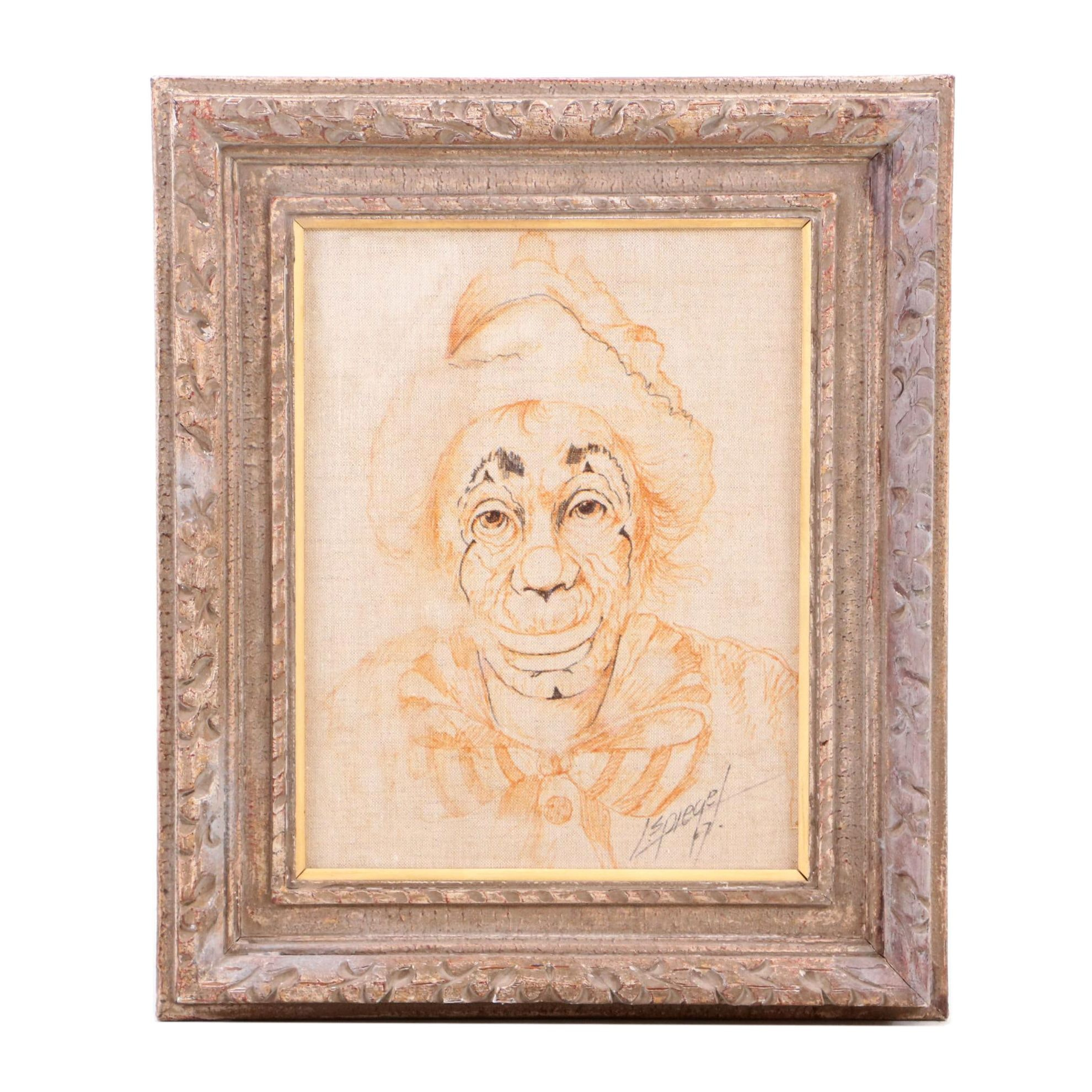 Louis Spiegel Vintage Drawing of Clown