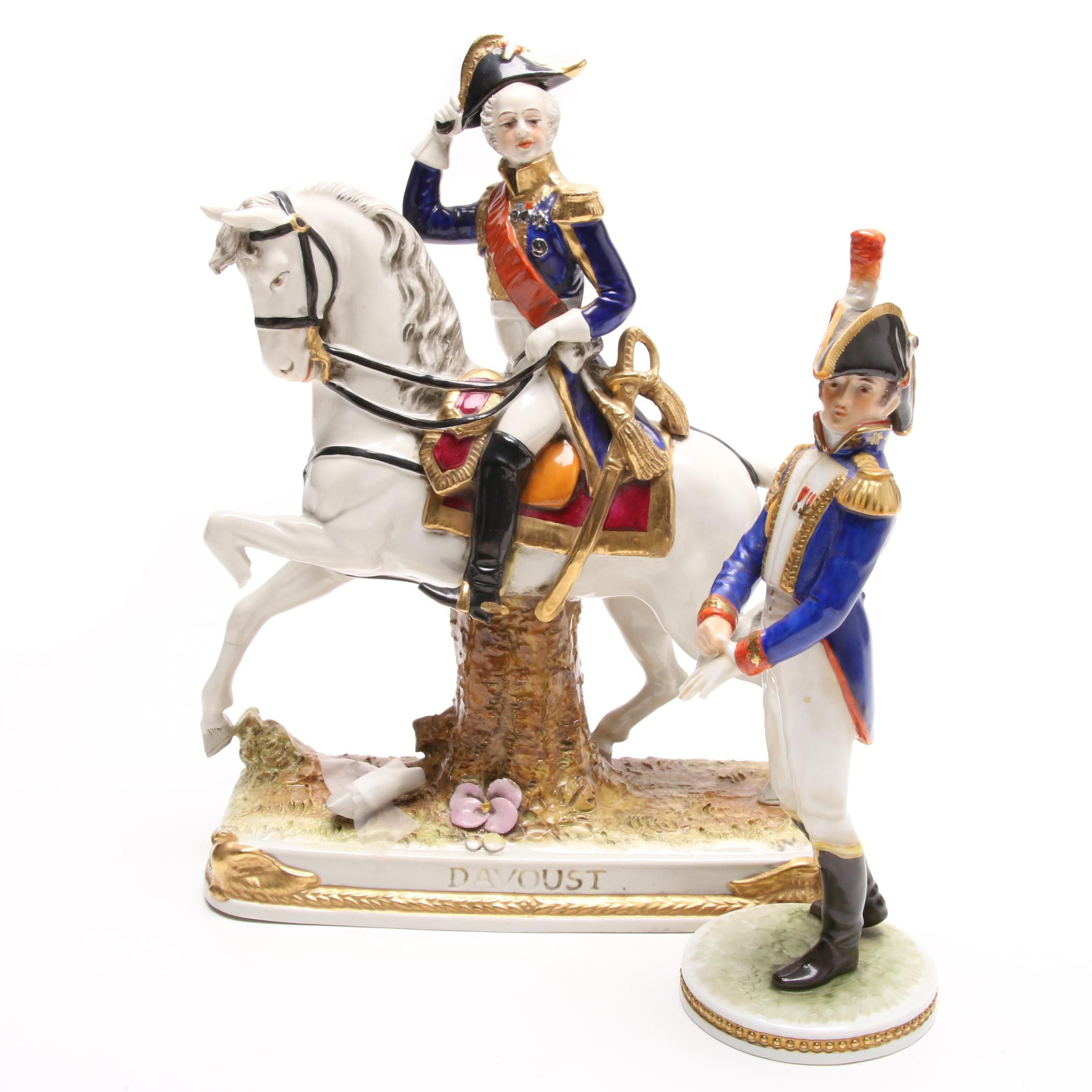 Scheibe-Alsbach Davoust and Alka Kunst Porcelain Napoleon Figurines
