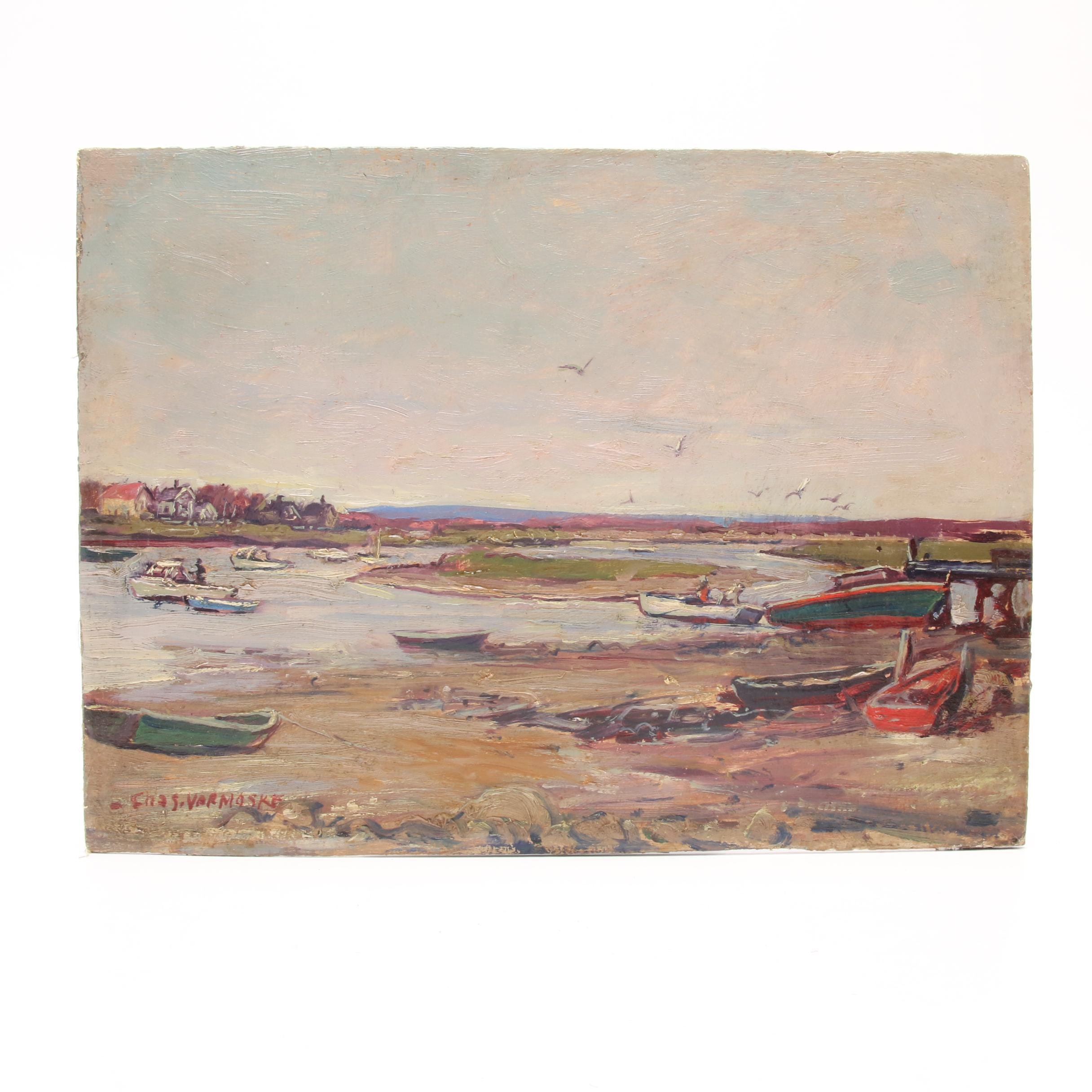 Mid-Century Nautical Landscape Oil Painting