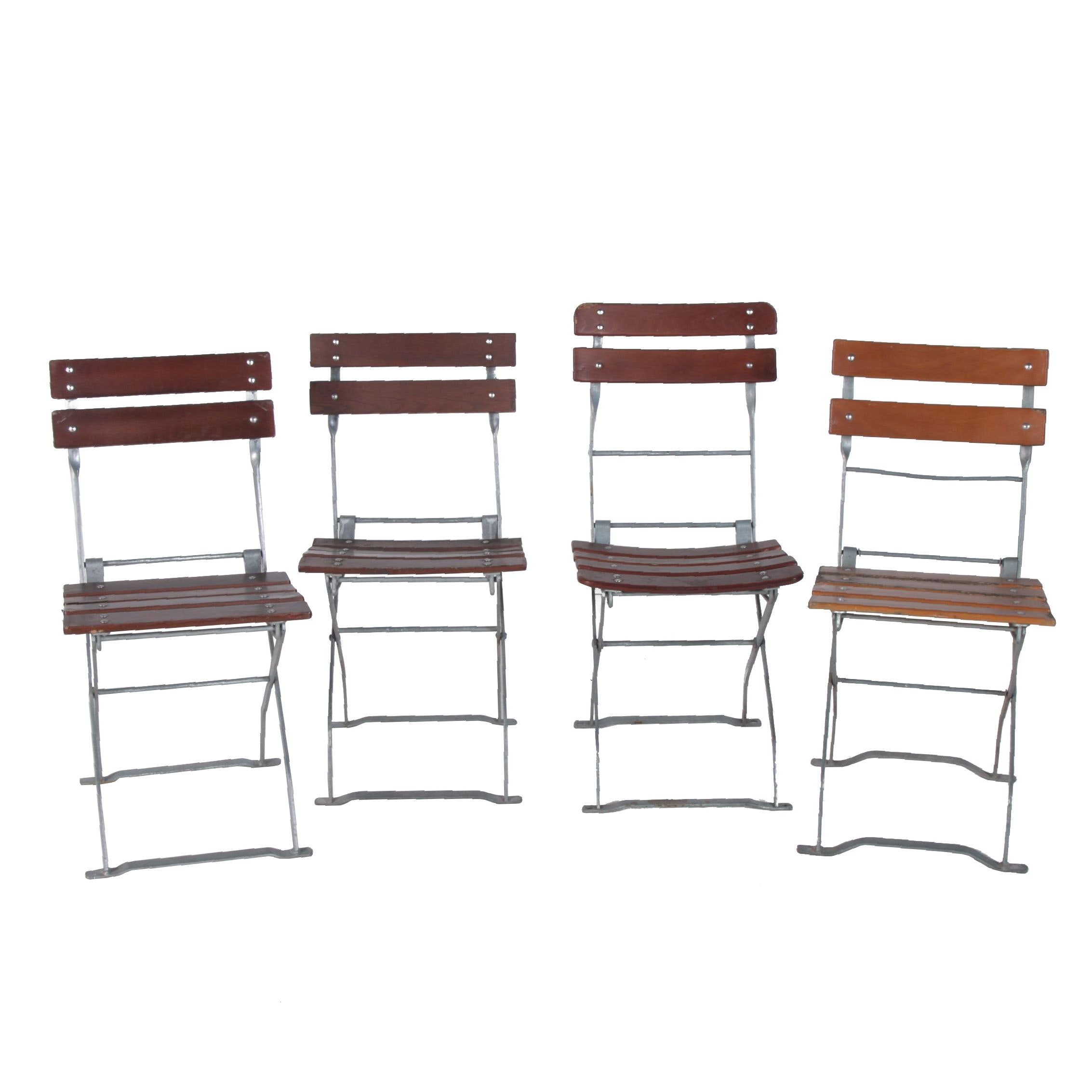 European Bistro Style Wood and Metal Folding Chairs, Late 20th Century