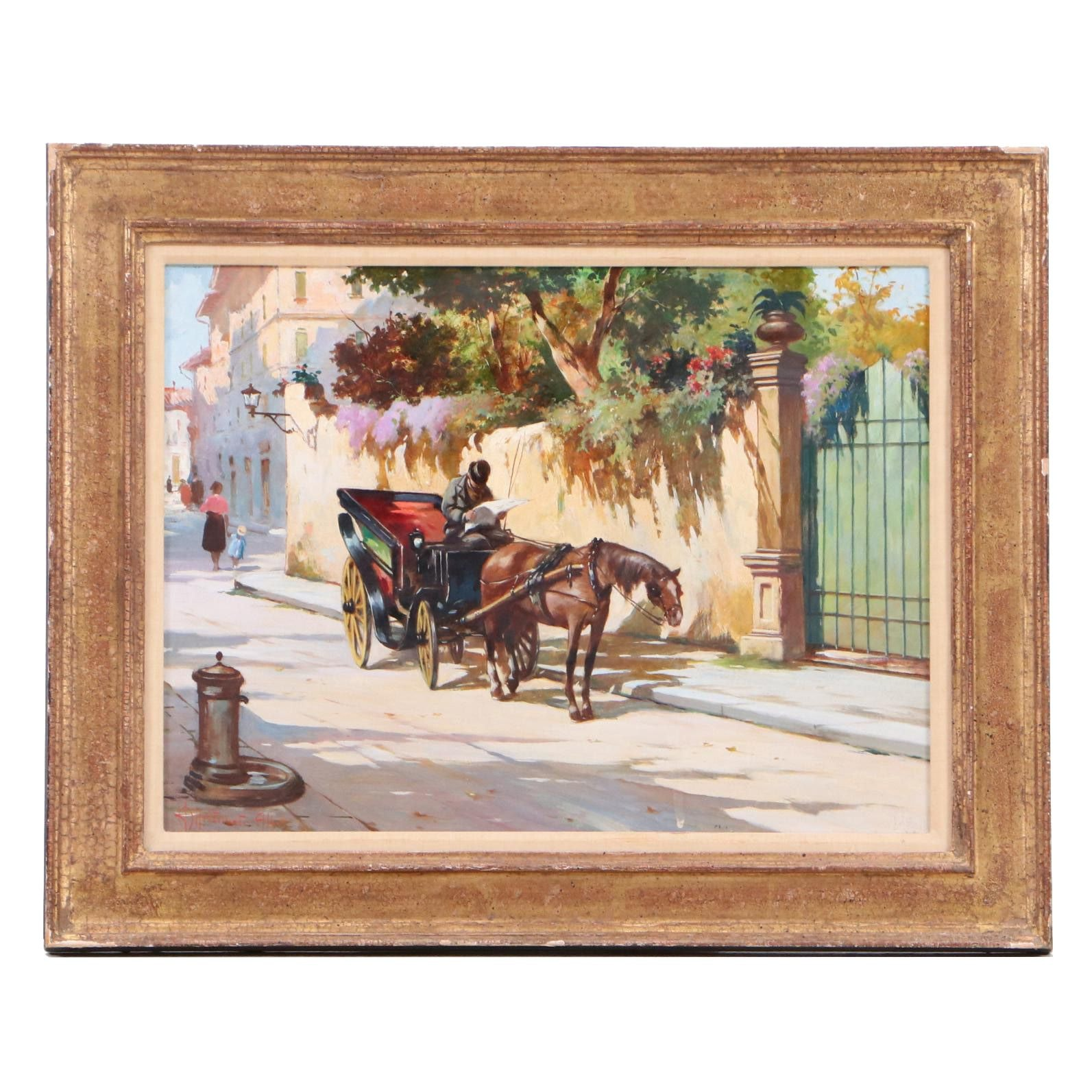 Antique Oil Painting  of a Street Scene