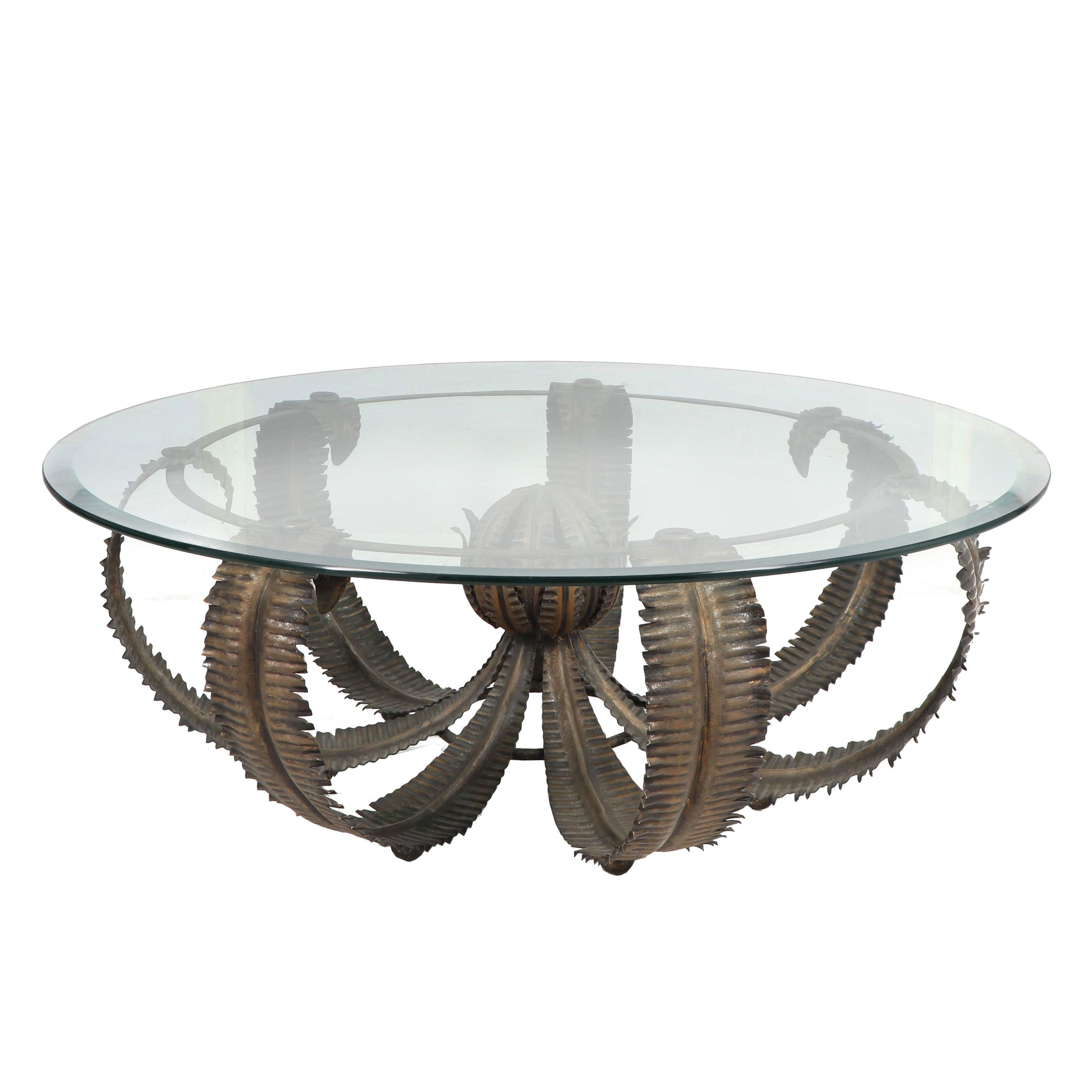 Sculptural Fern Leaf Metal Base Coffee Table With Glass Top, 21st Century