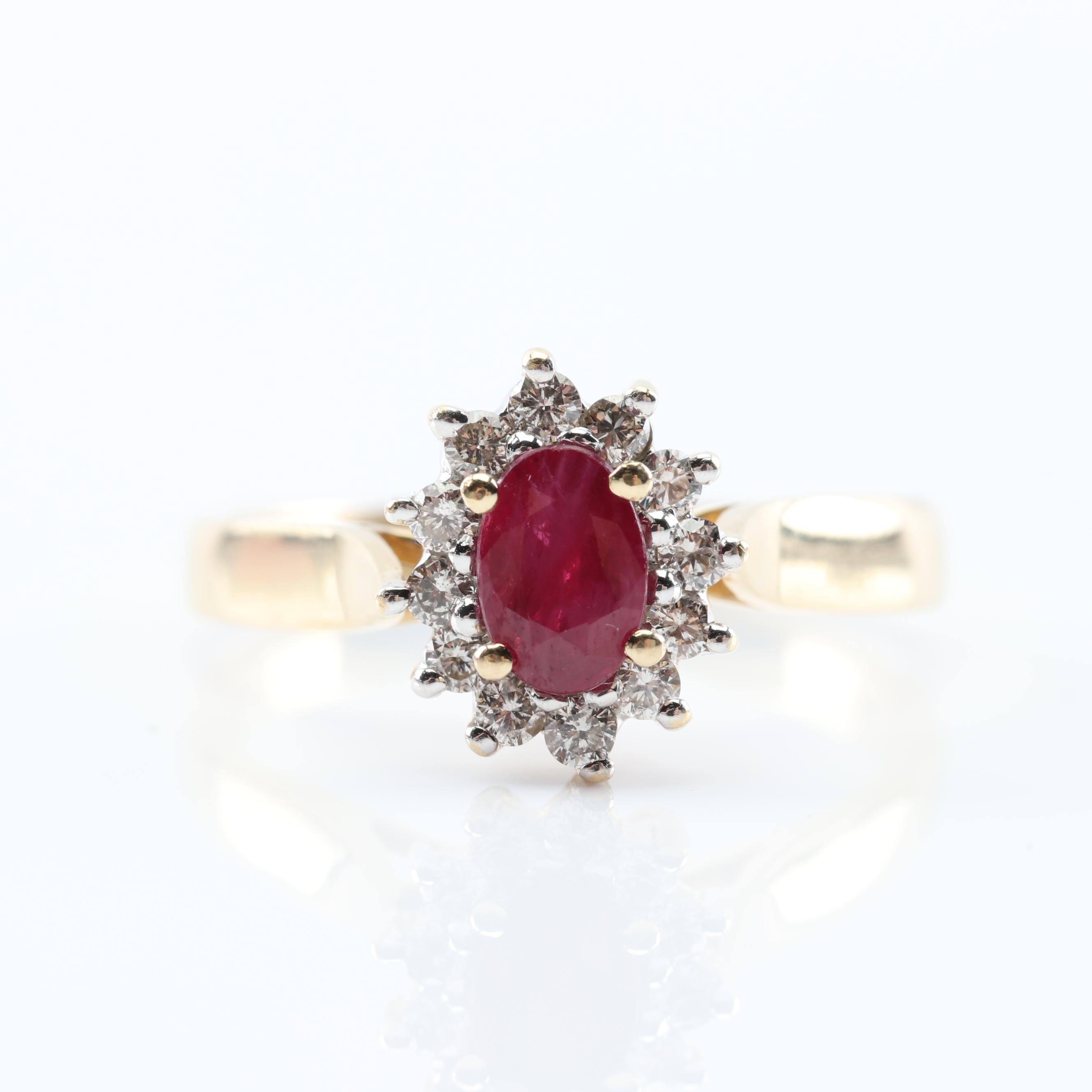 14K Yellow Gold Ruby and Diamond Halo Ring