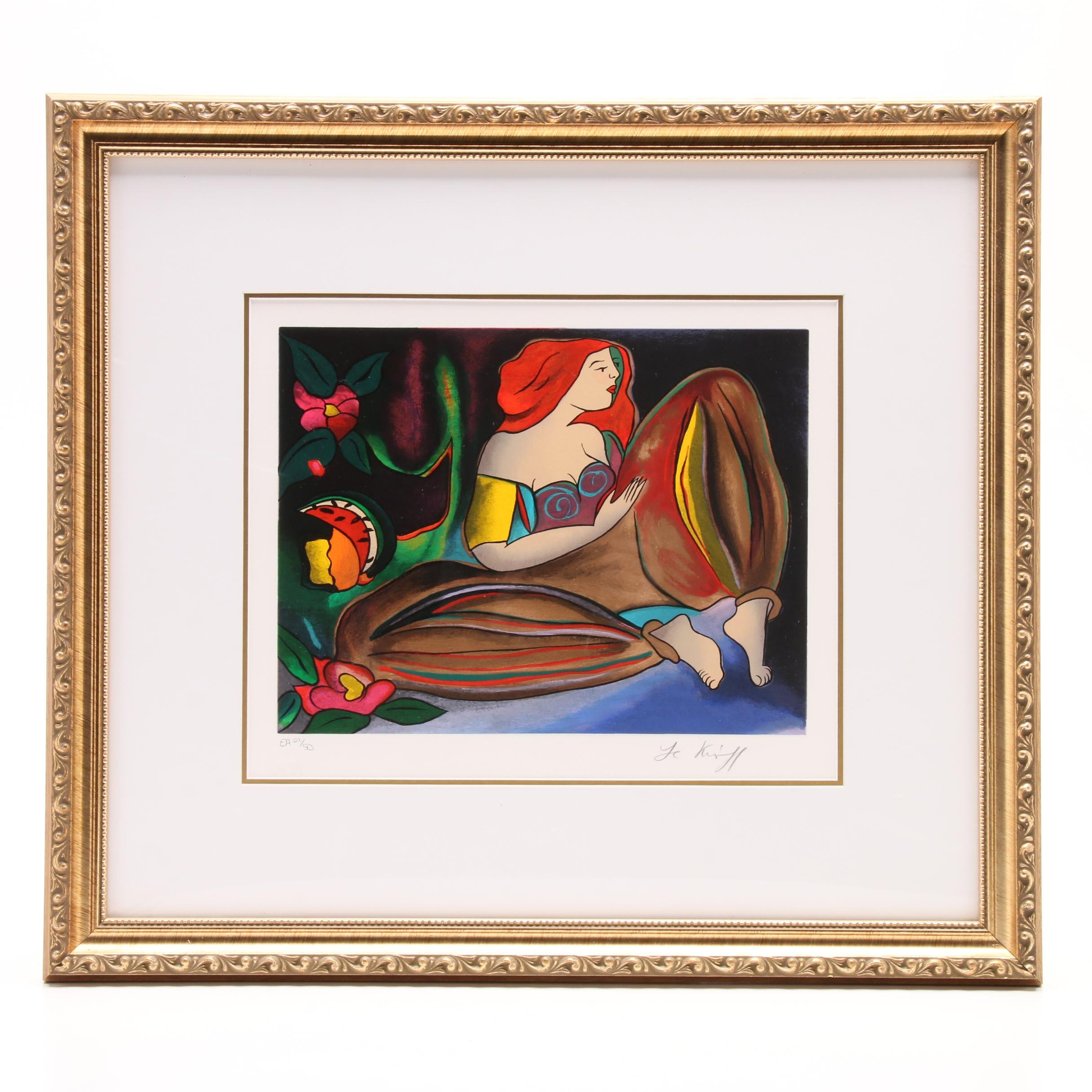 """Linda Le Kinff 2002 Limited Edition Artist's Proof Serigraph """"Nuit Turque"""""""