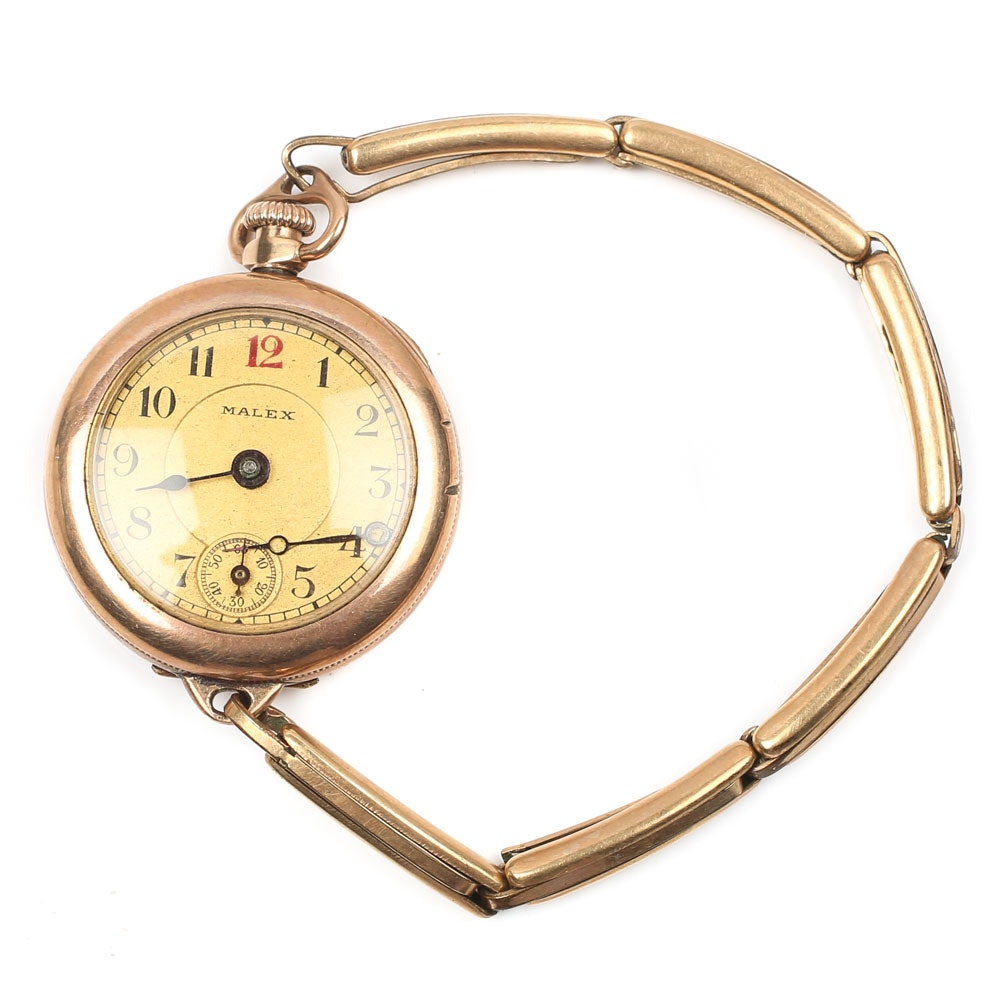 Malex Silver Plated Top Wind Wristwatch