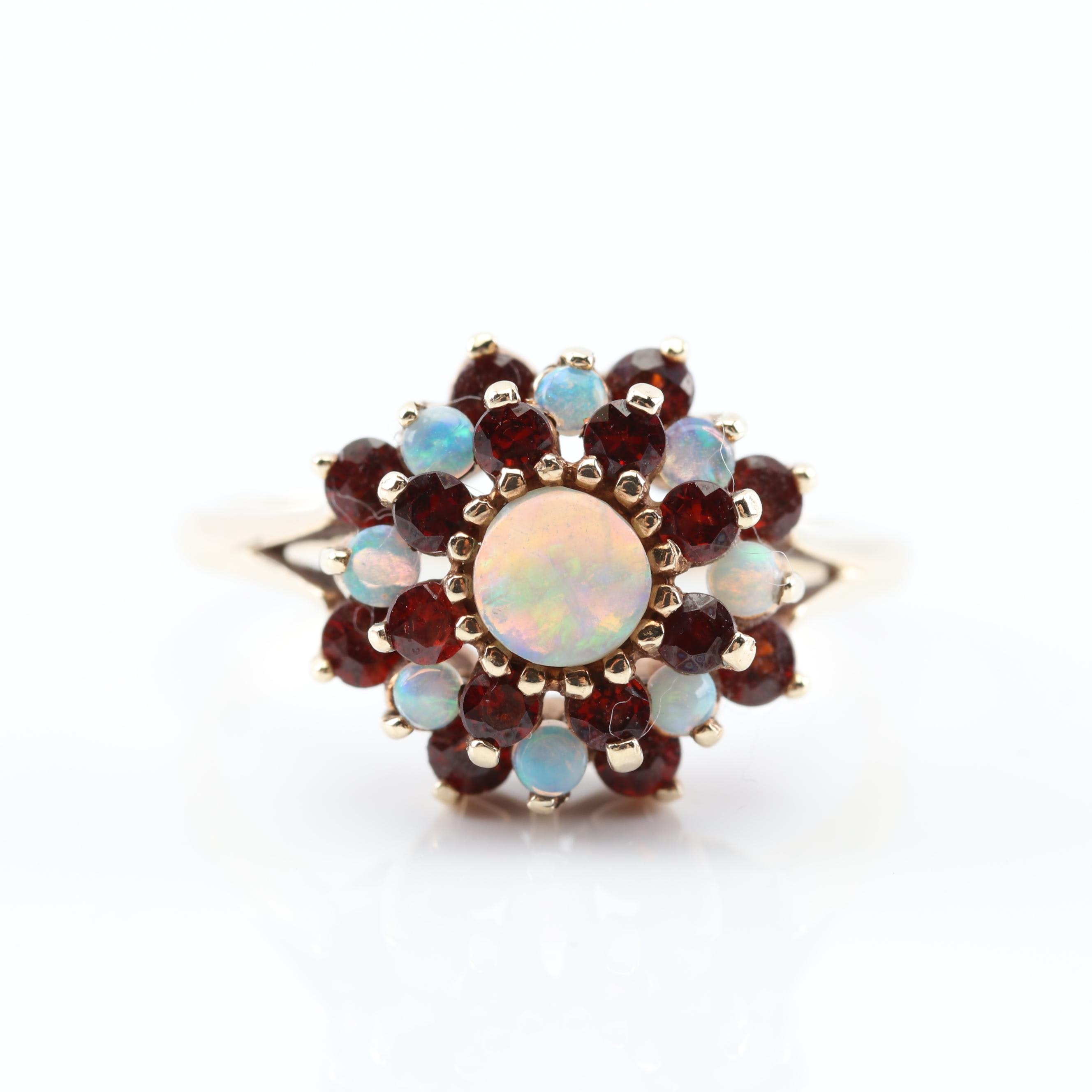 10K Yellow Gold 1.00 CTW and Opal Garnet Ring