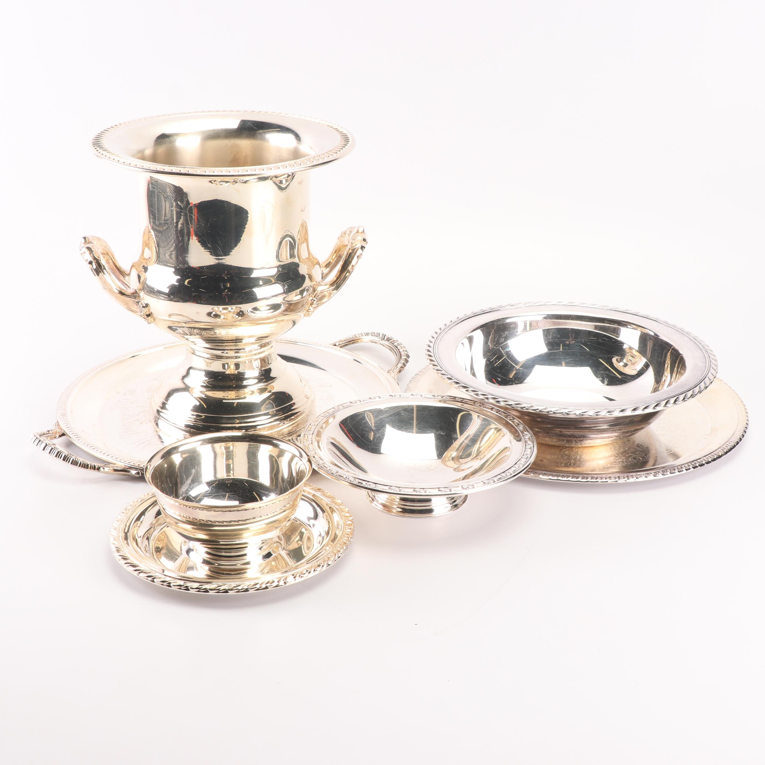 Leonard Champagne Bucket with Other Silver Plate Serveware, Late 20th Century
