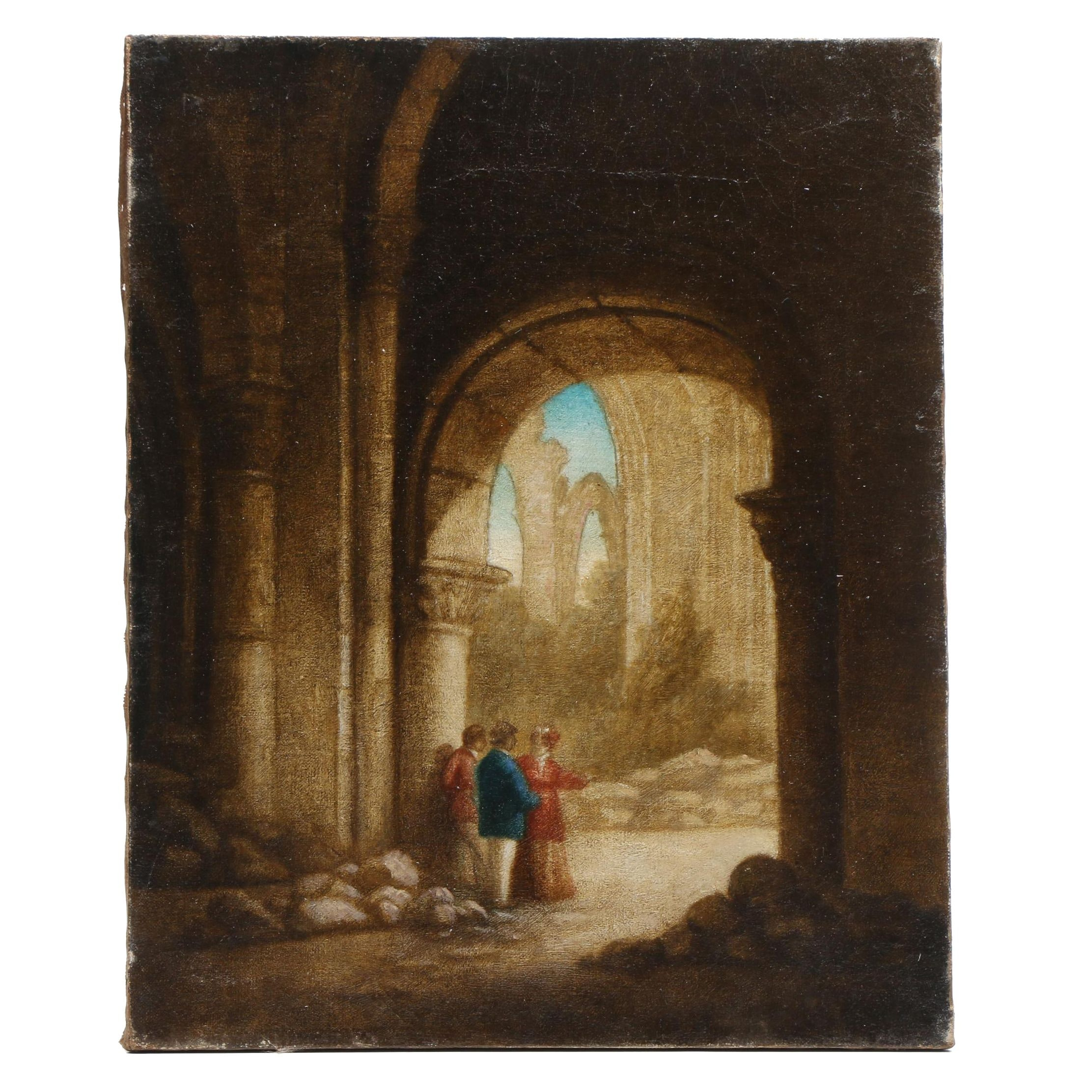 Oil Painting of Architectural Ruins with Figures