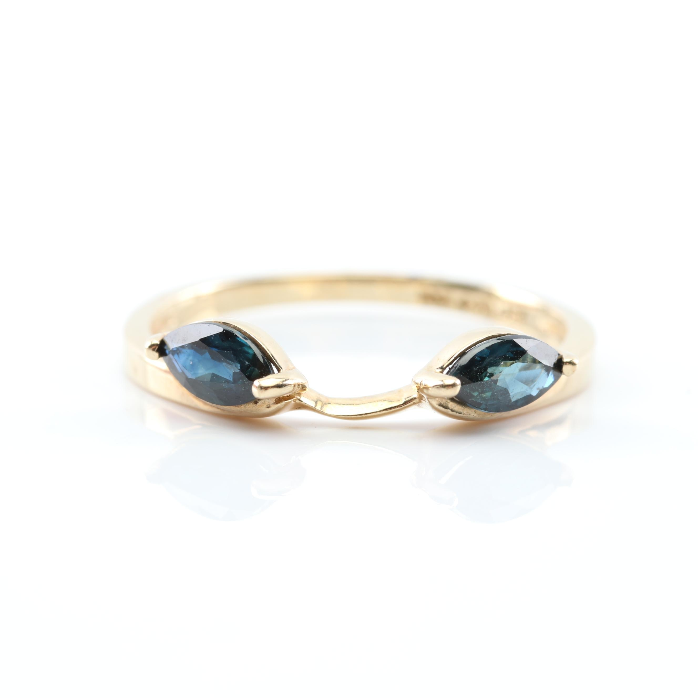 10K Yellow Gold Sapphire Wrap Ring