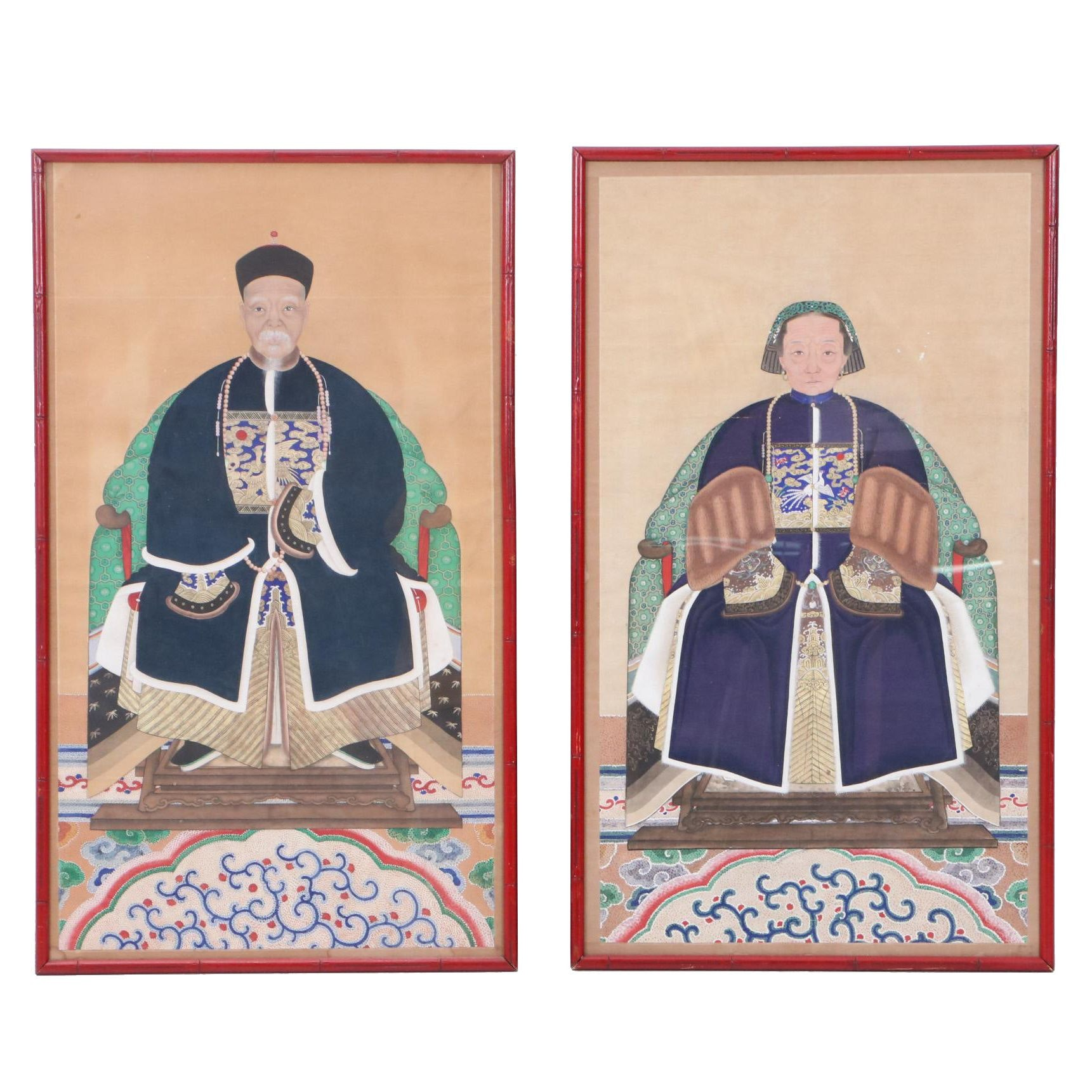 Chinese Gouache Ancestor Portrait Paintings