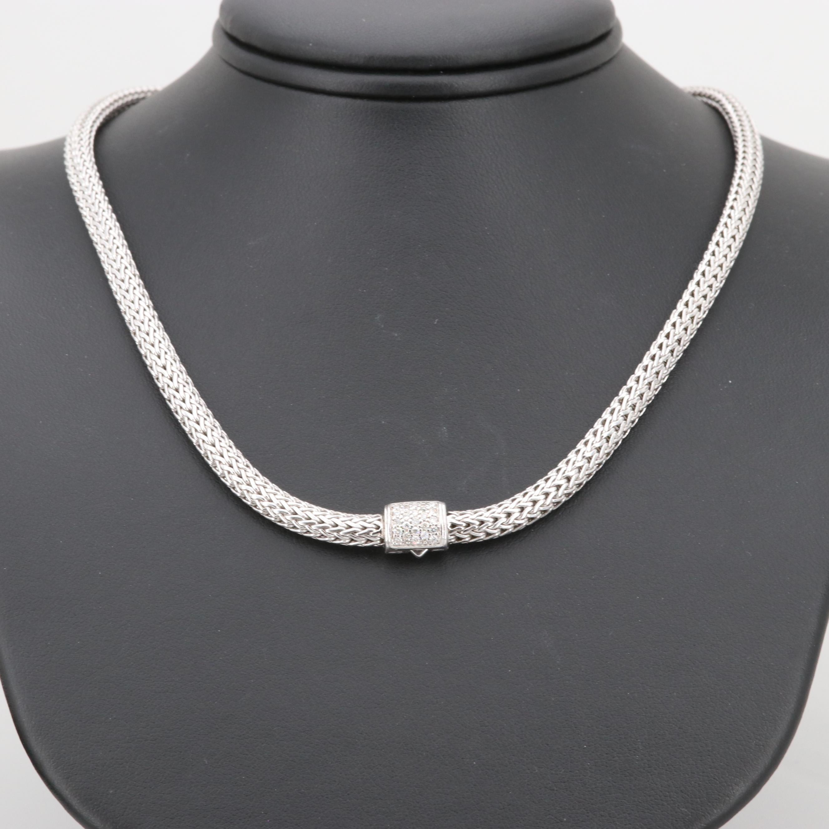 John Hardy Sterling Silver Classic Chain Pavé Diamond Clasp Necklace