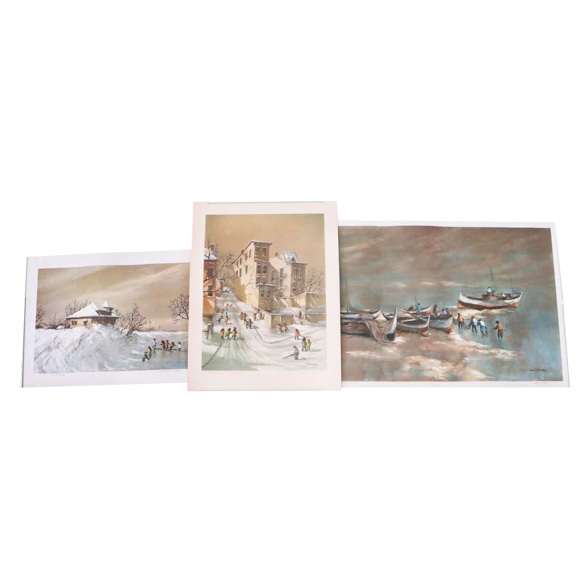"Robert Fabe Offset Lithographs Including ""First Snow"" Artist Proof"