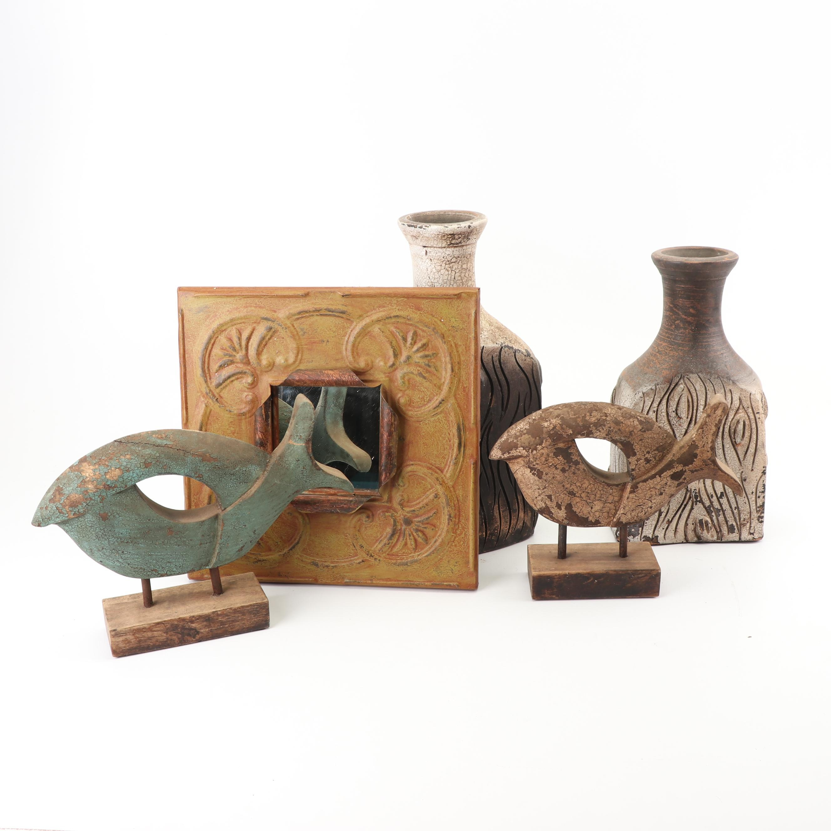 Textured Ceramic Vases with Abstract Bird Sculptures and Accent Mirror