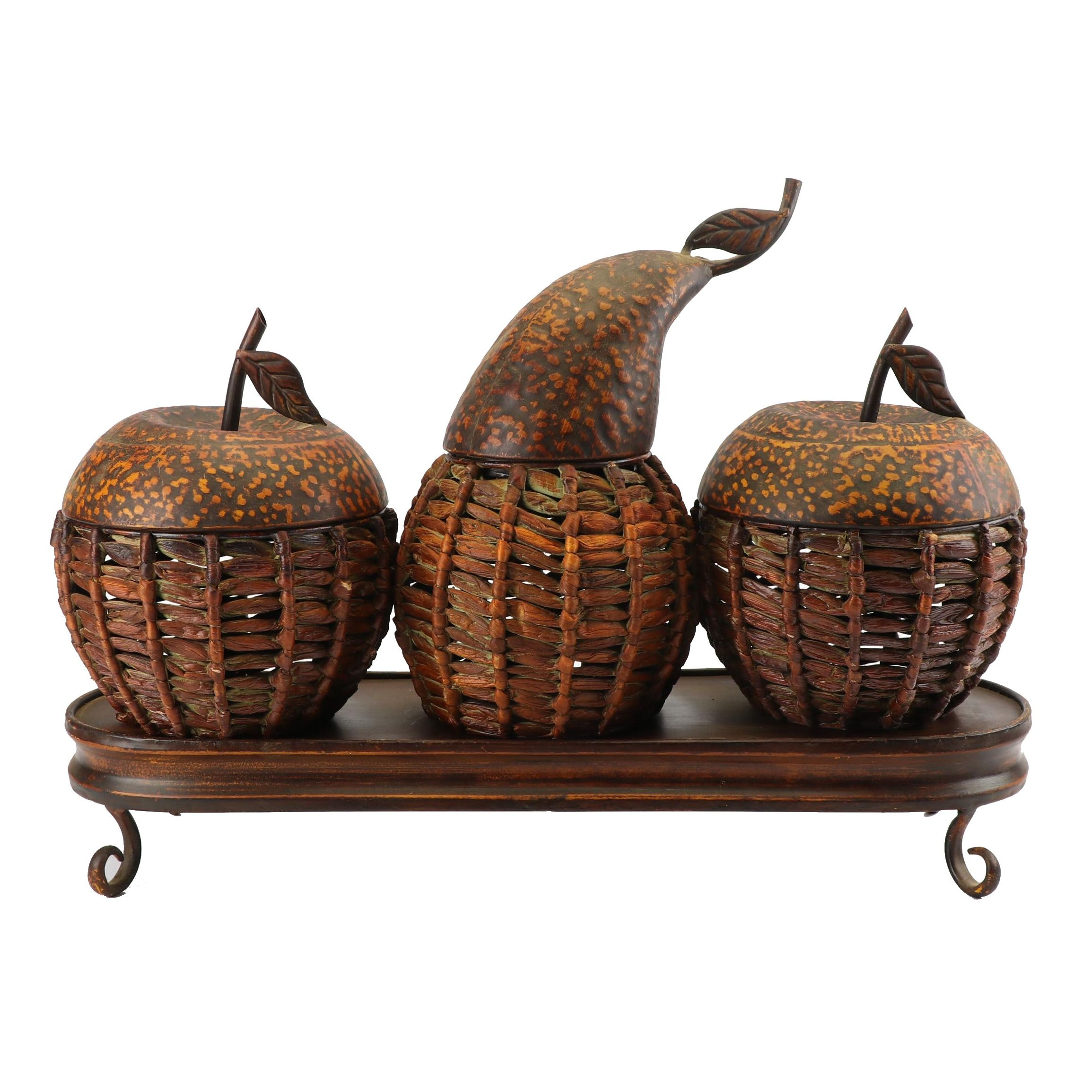 Apple and Pear Shaped Rattan and Metal Baskets with Display Tray