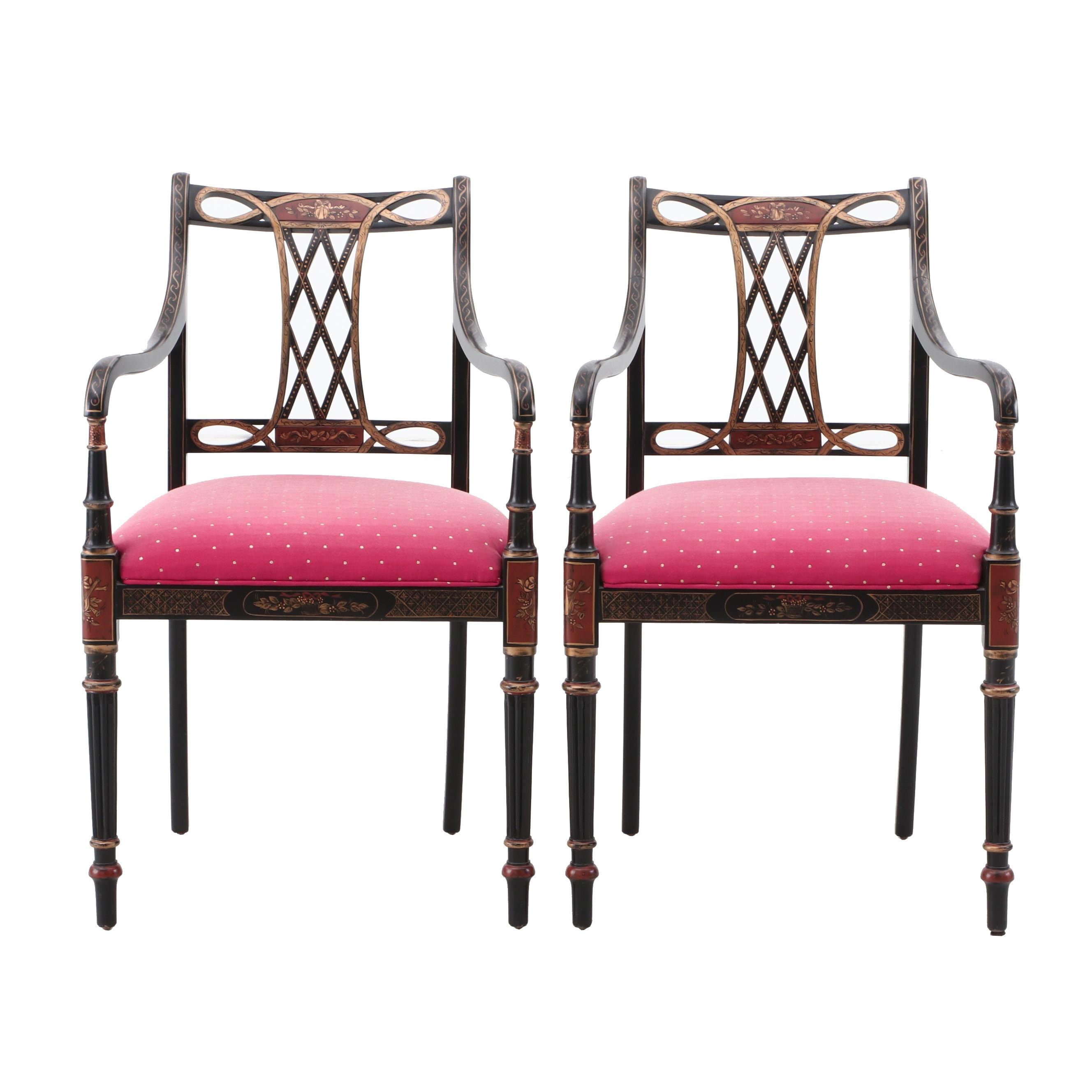 Regency Style Gilt and Ebonized Stenciled Armchairs