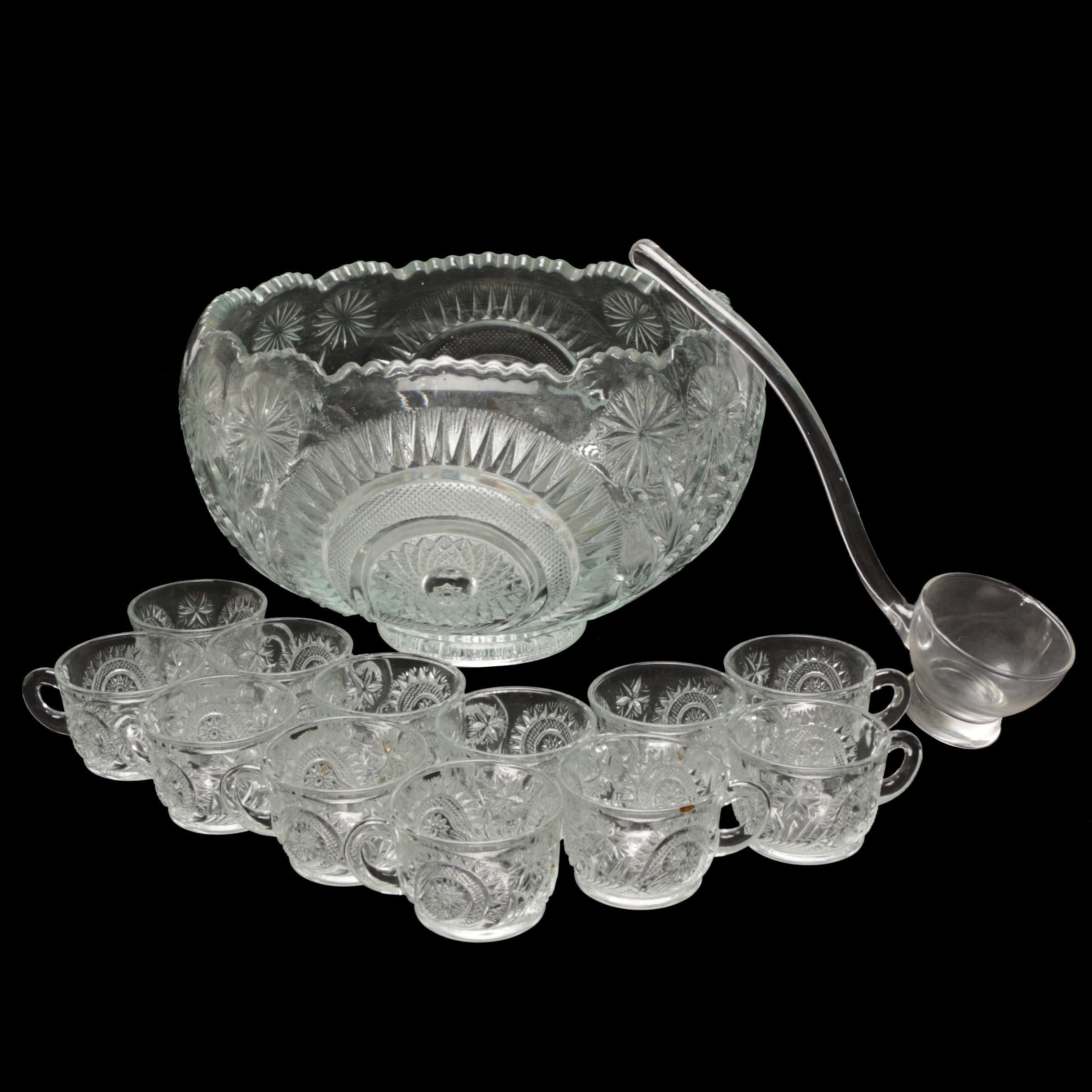 Vintage Pressed Glass Punch Bowl Set