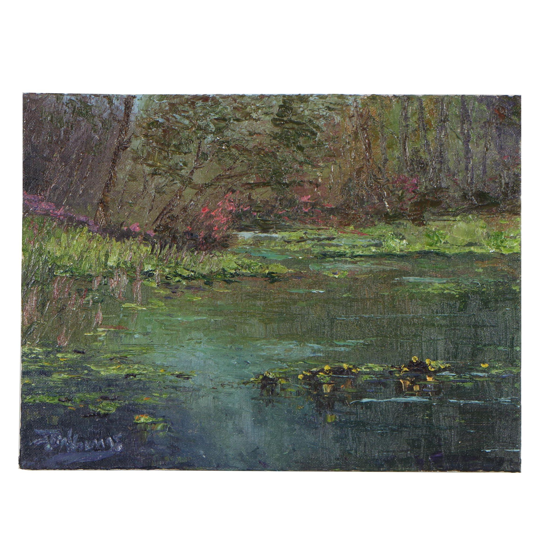 "James Baldoumas Oil Painting ""Summer Pond"""