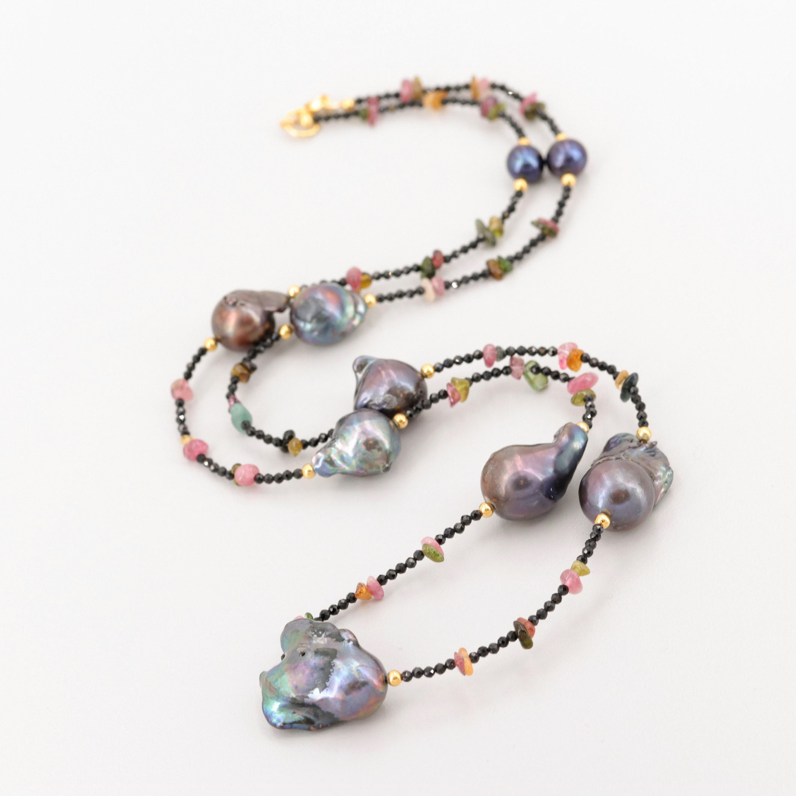 Gold Wash on Sterling Silver Cultured Pearl, Tourmaline and Onyx Beaded Necklace