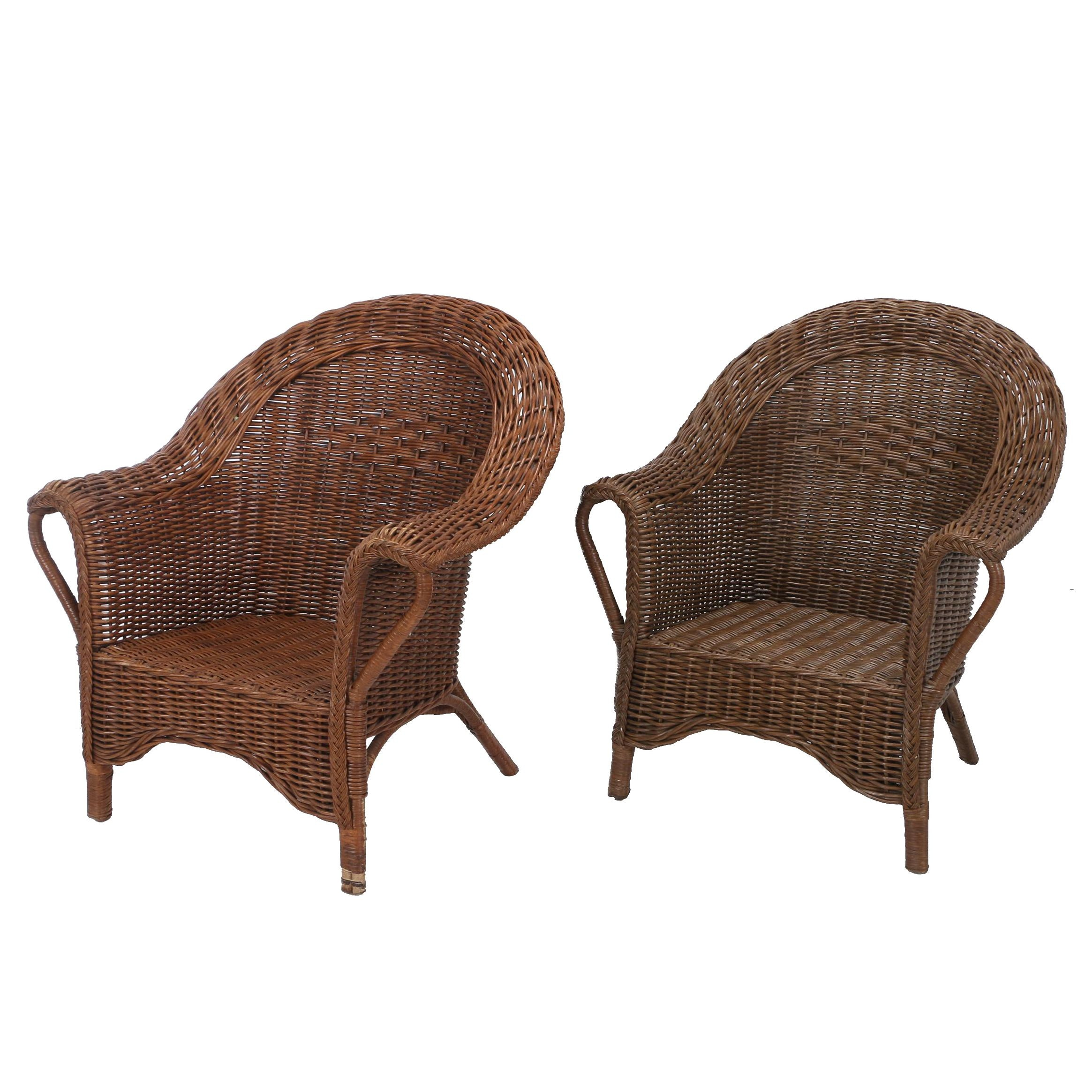 Contemporary Brown Wicker Patio Armchairs by Palecek