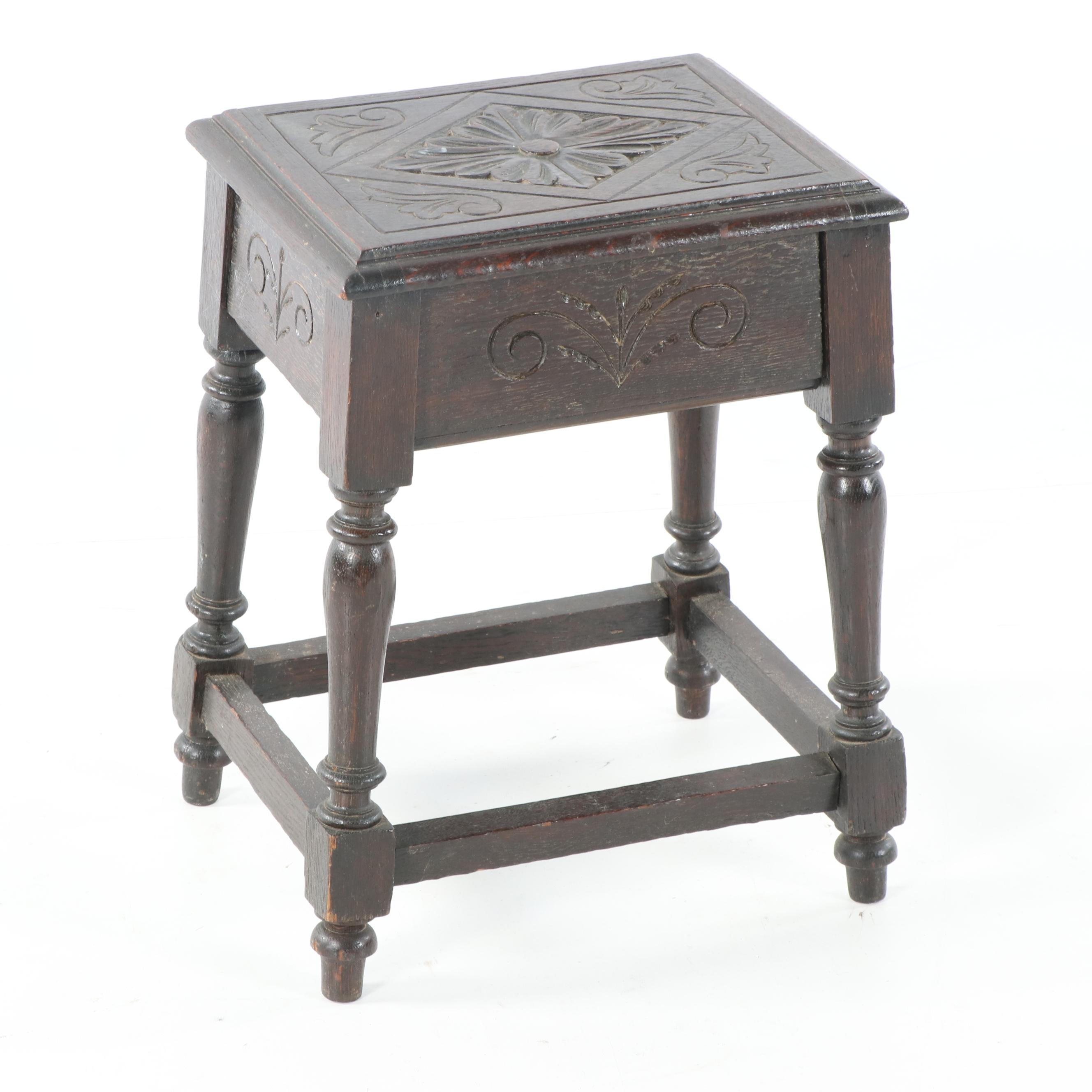 Jacobean Revival Style Carved Wood Storage Side Table, Early 20th Century