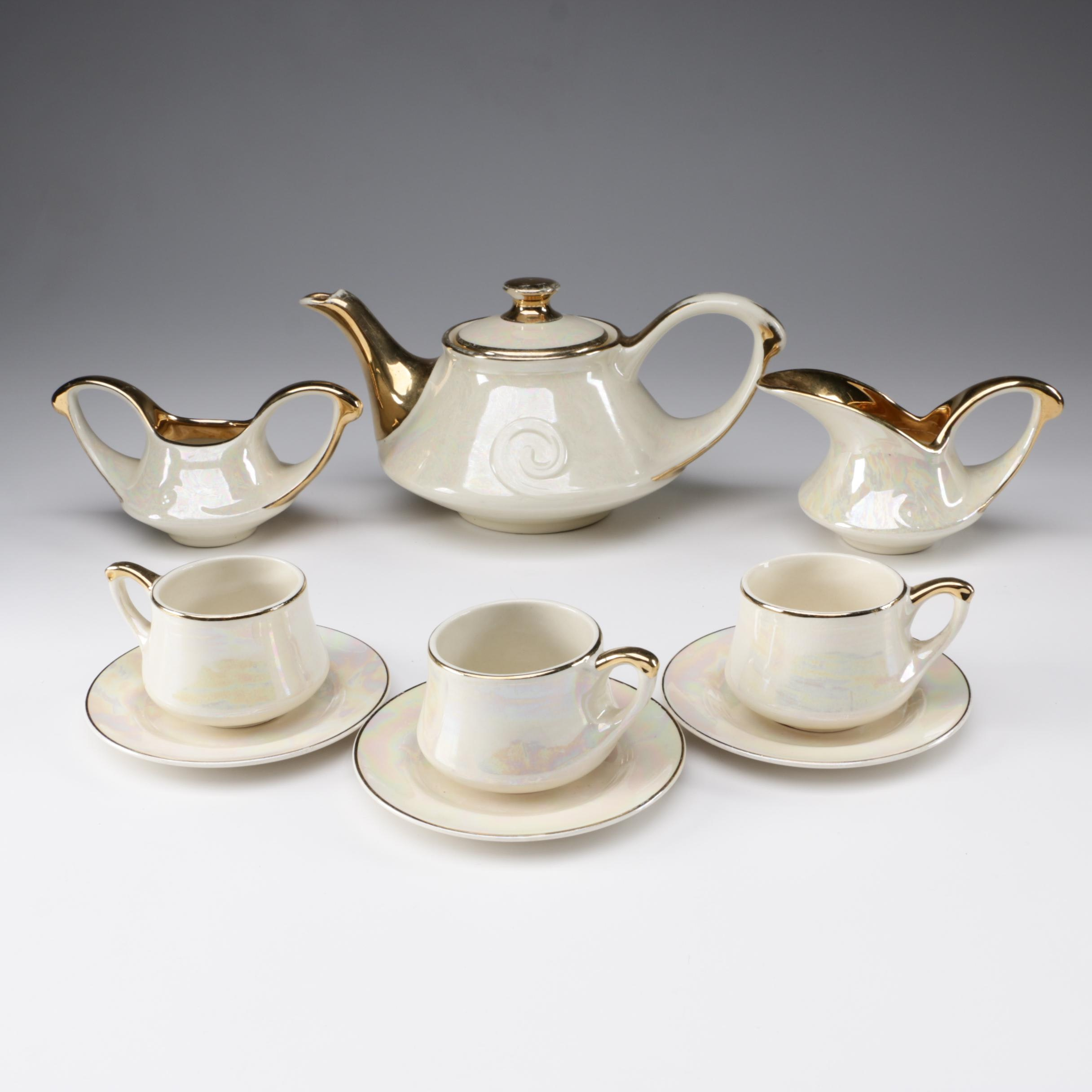 Pearl China Co. Pearlescent Tea Set with Hand Decorated 22K Gold, c.1930s