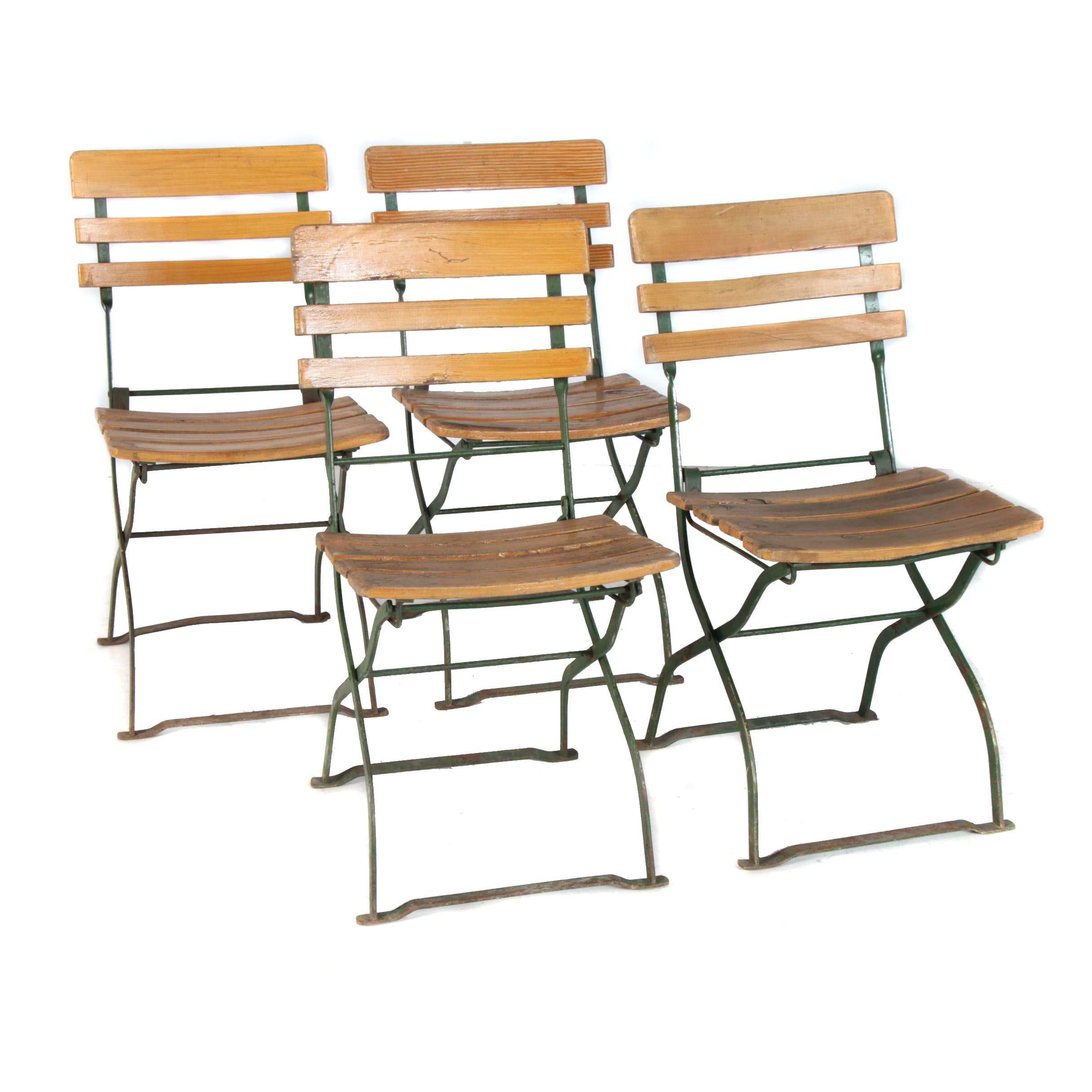German Beirgarten Pine and Iron Folding Chairs From Sigwart Brewery